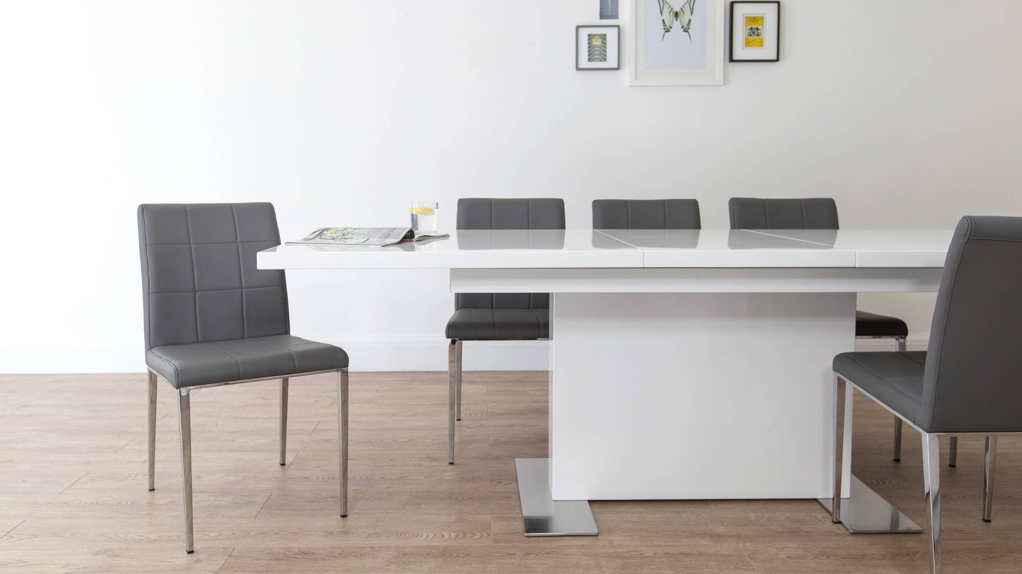 Stylish Grey and White Gloss Extending Dining Set