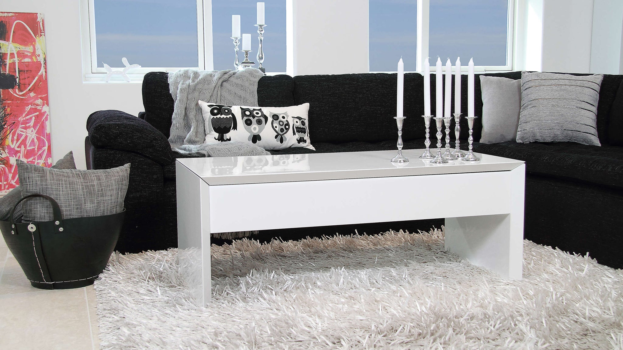Large White Coffee Table with Storage Space