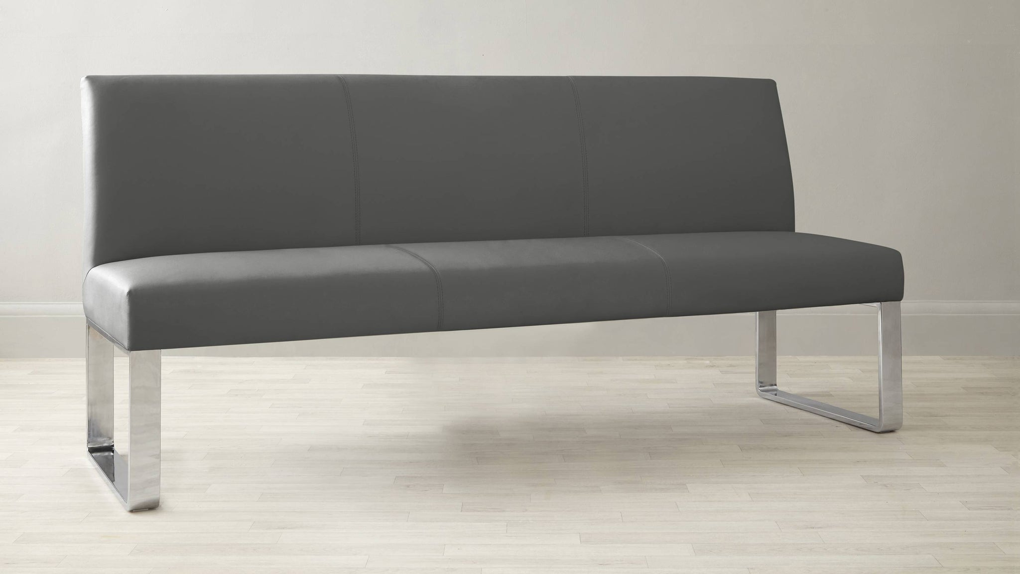 Quality dark grey leather bench