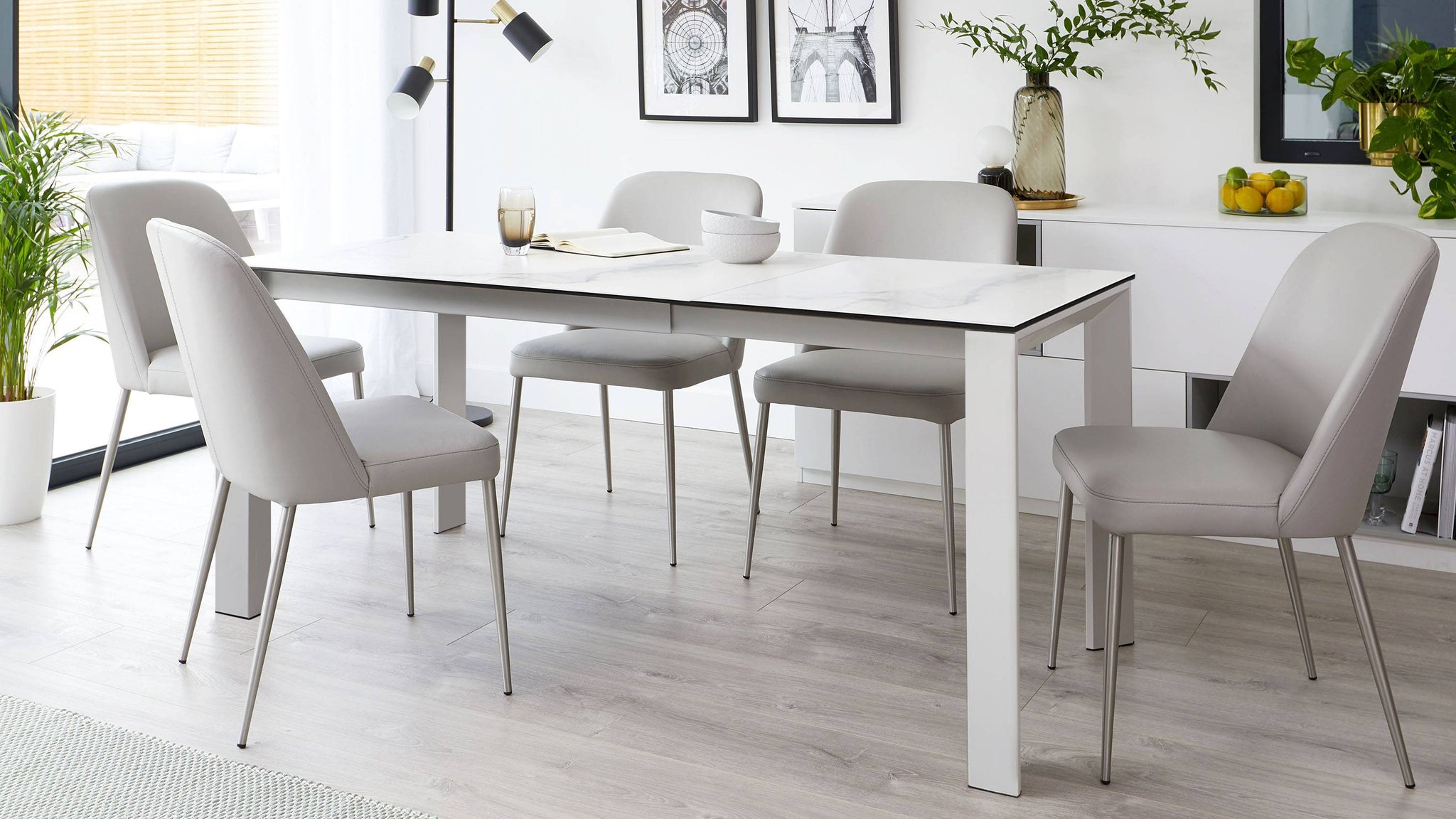White marble ceramic extending dining table
