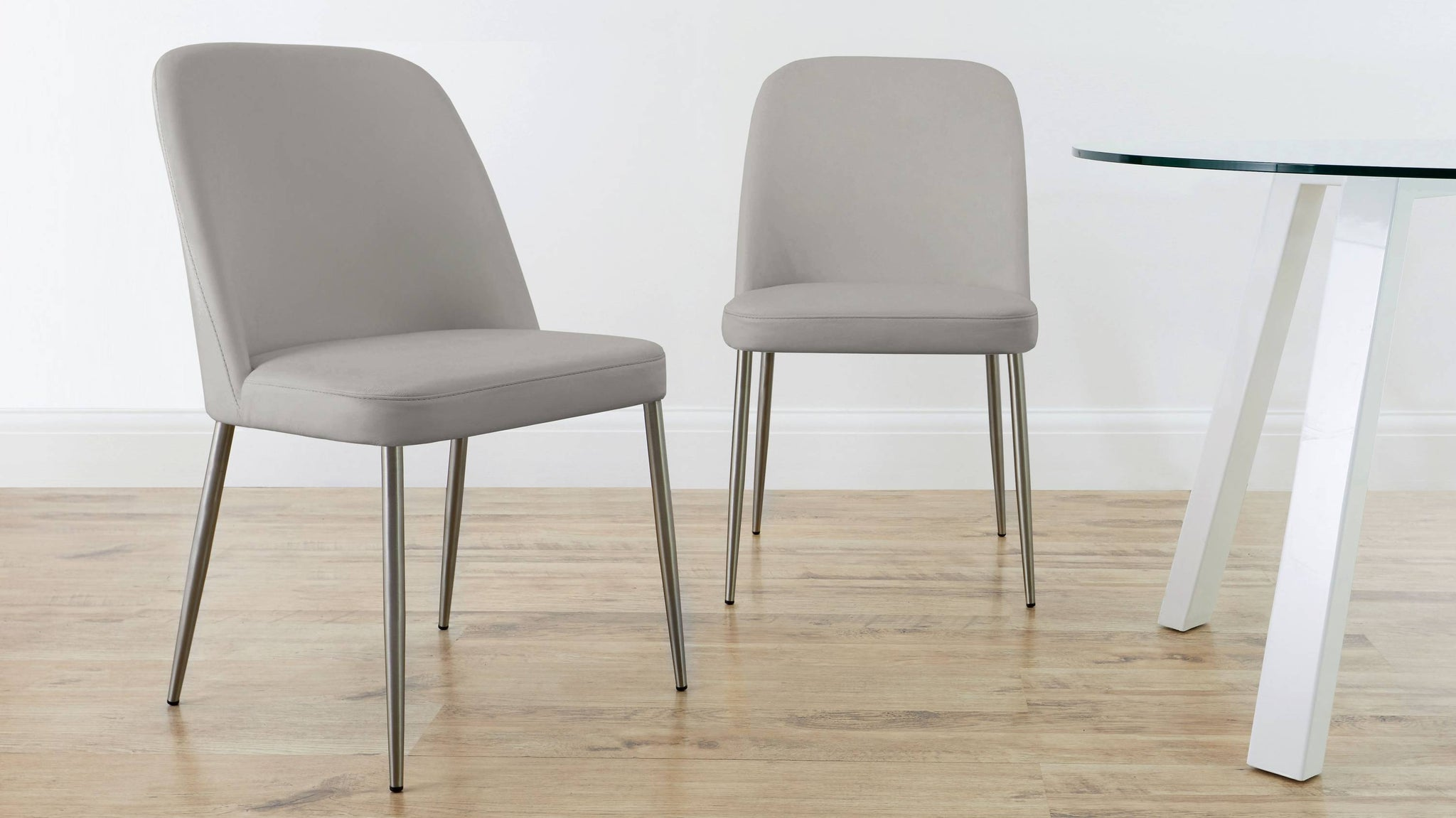 Cool grey large leather dining chairs