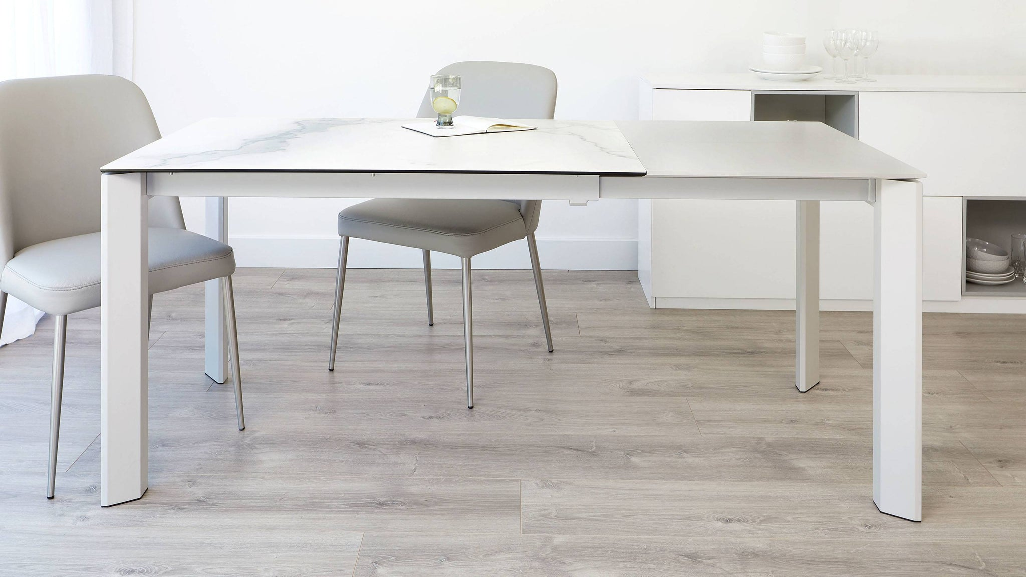 Modern grey and white marble ceramic dining table