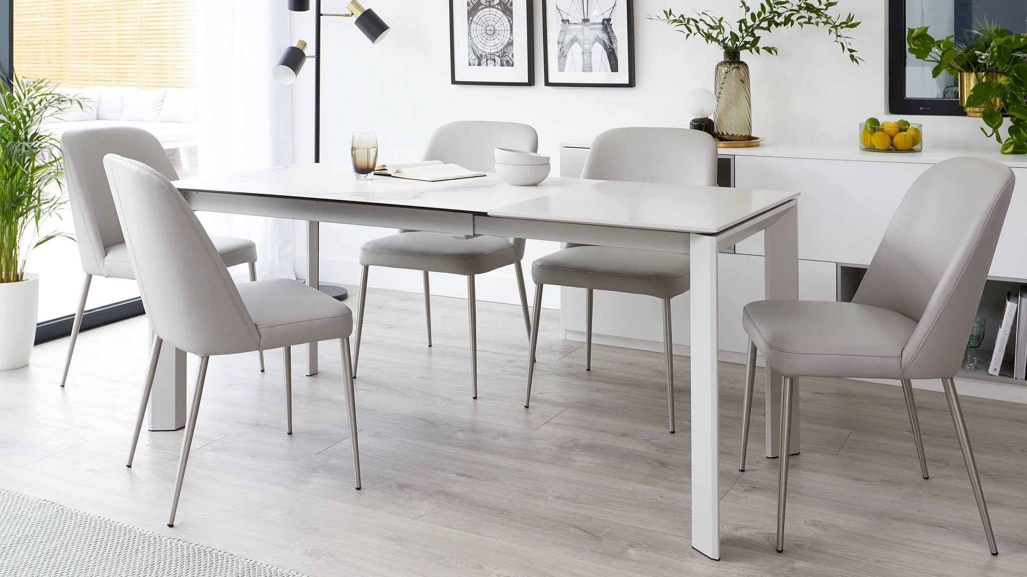 Louis white ceramic extending dining table
