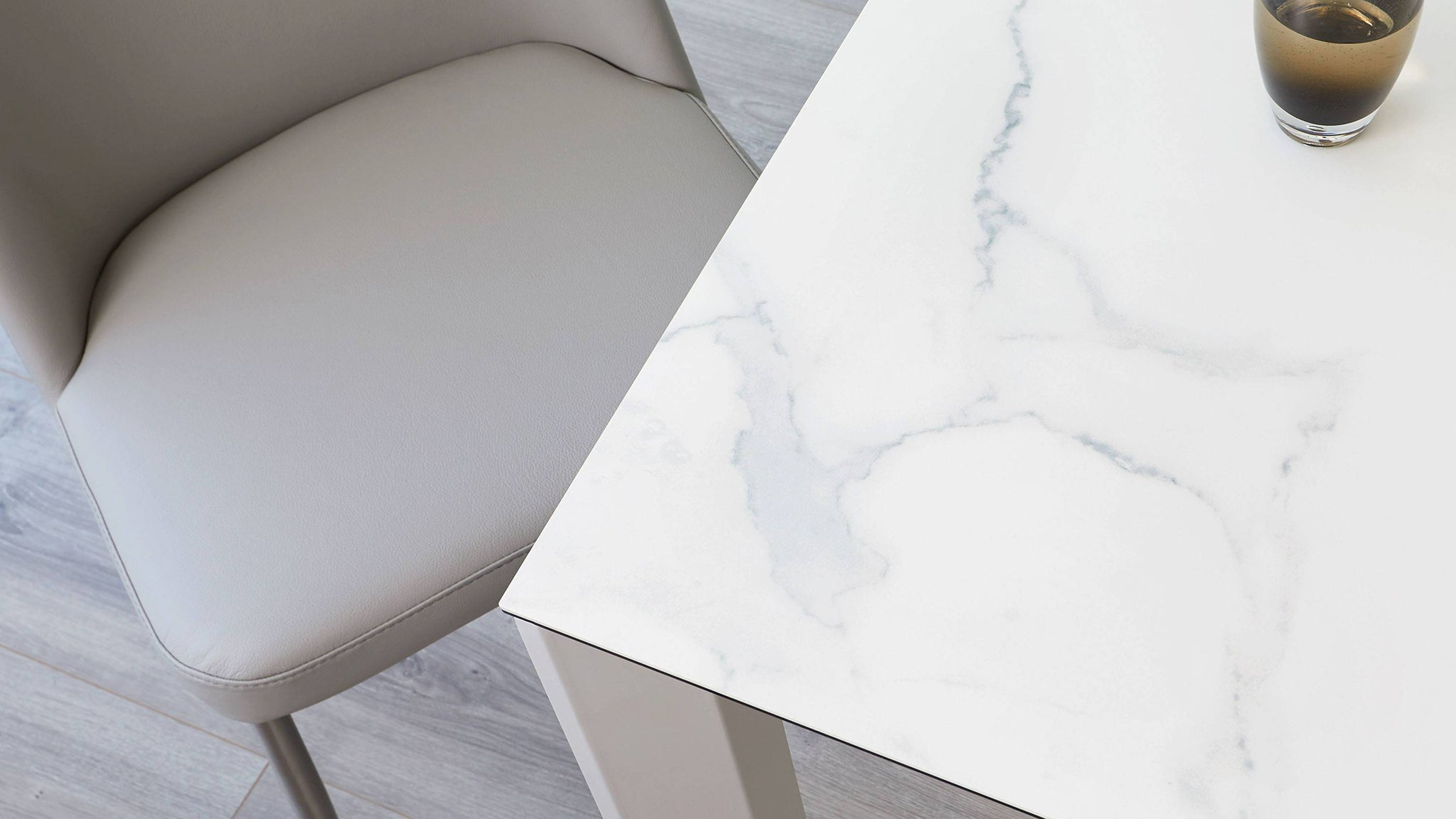 Marble finish extending dining table