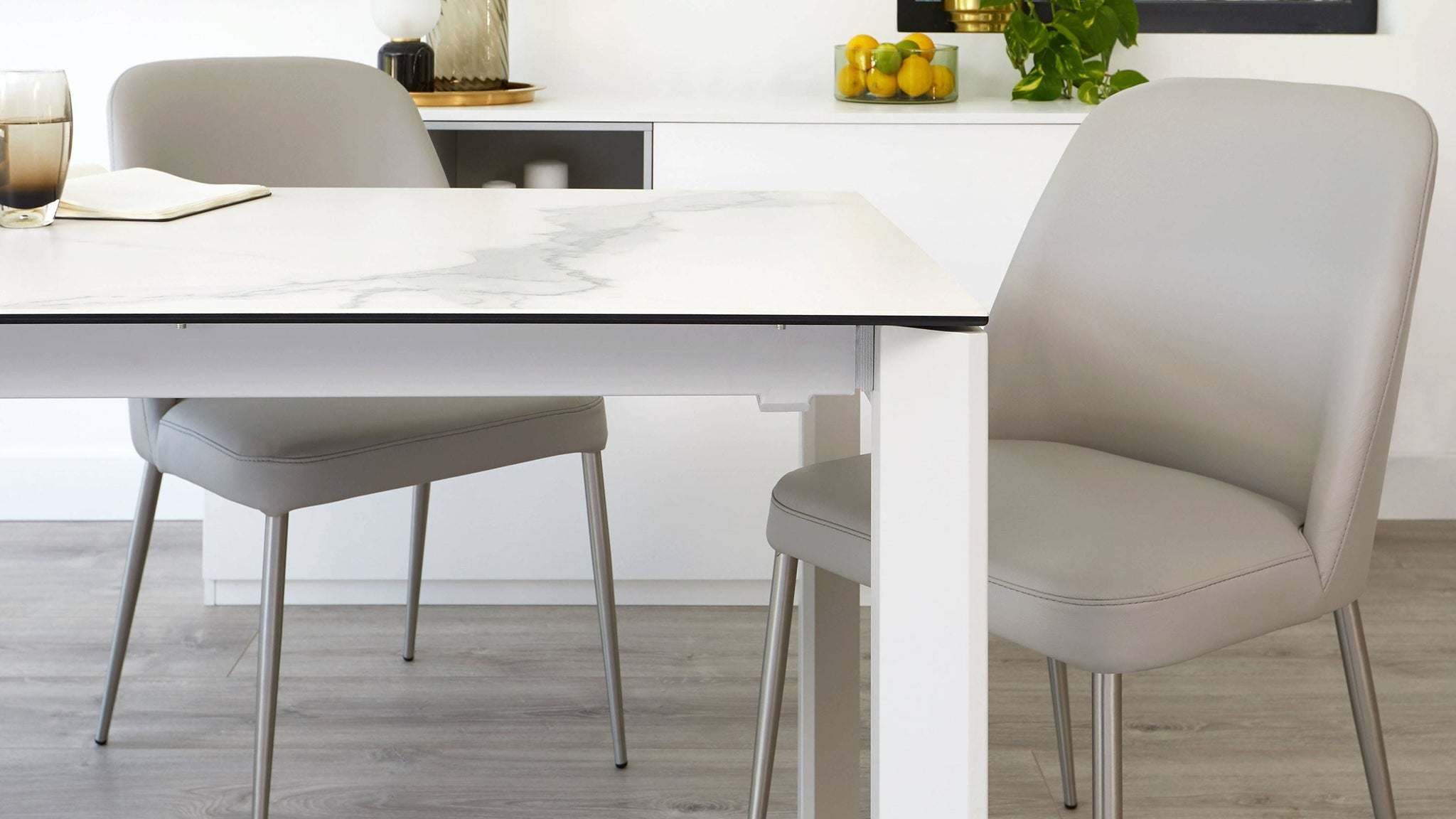 Extending marble ceramic dining table