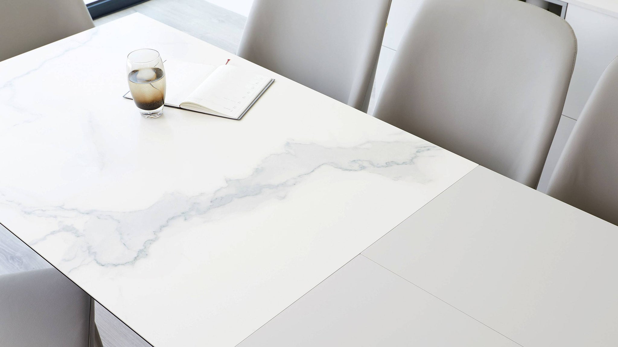 Large marble extending dining table