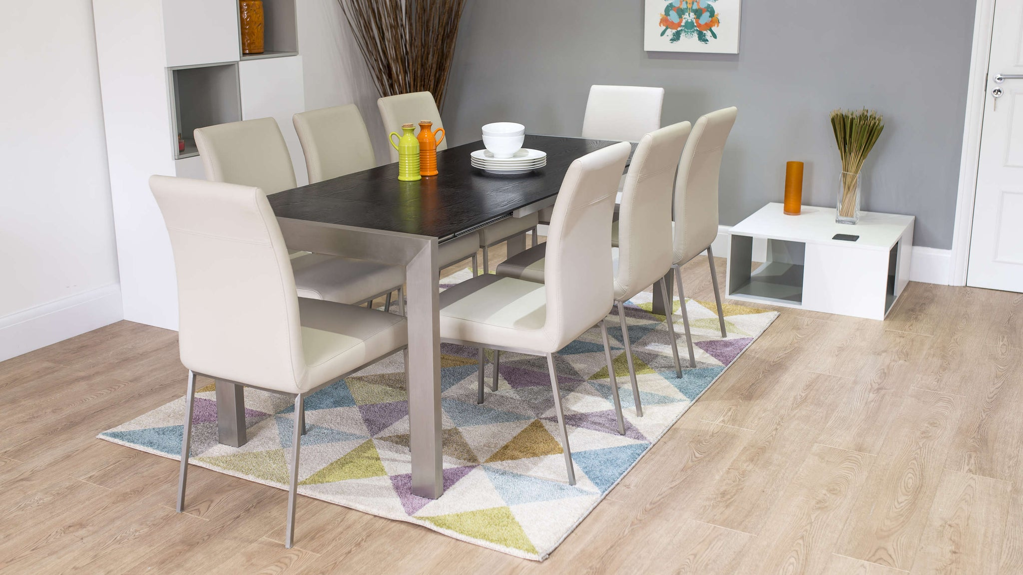 Modern Dining Chairs with Black Ash Double Extending Dining Table