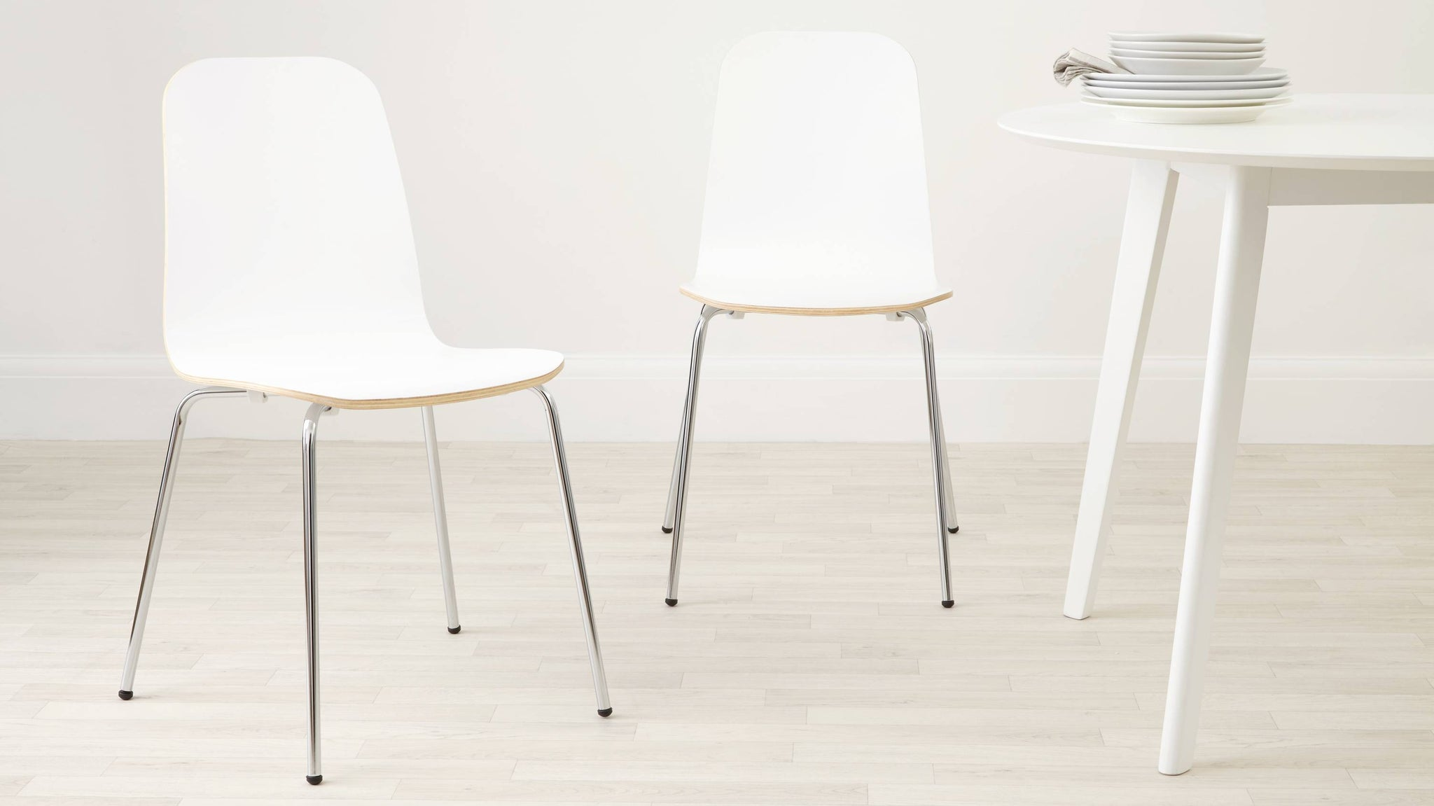 White painted wood scandi style dining chair