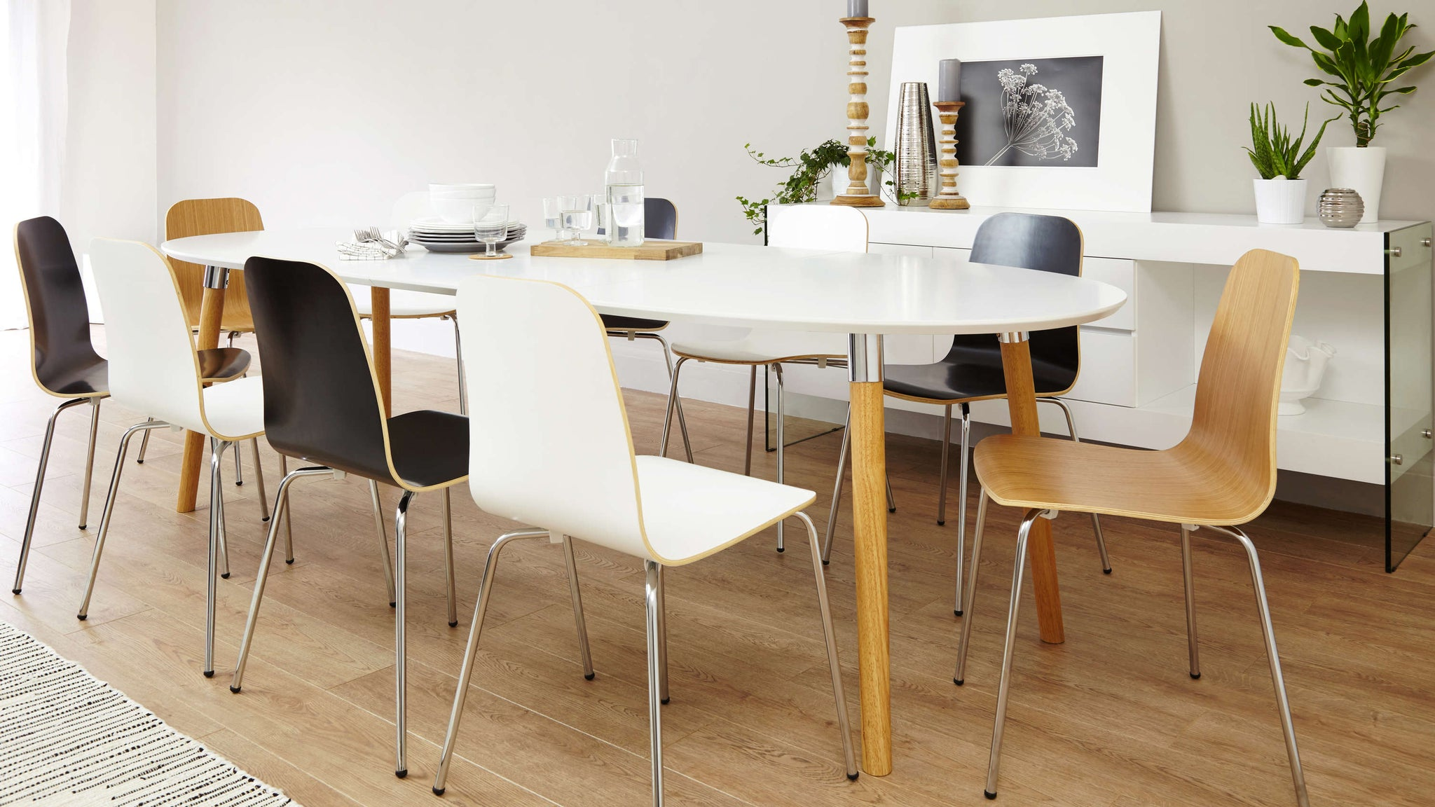 10 seater extending white and oak dining set