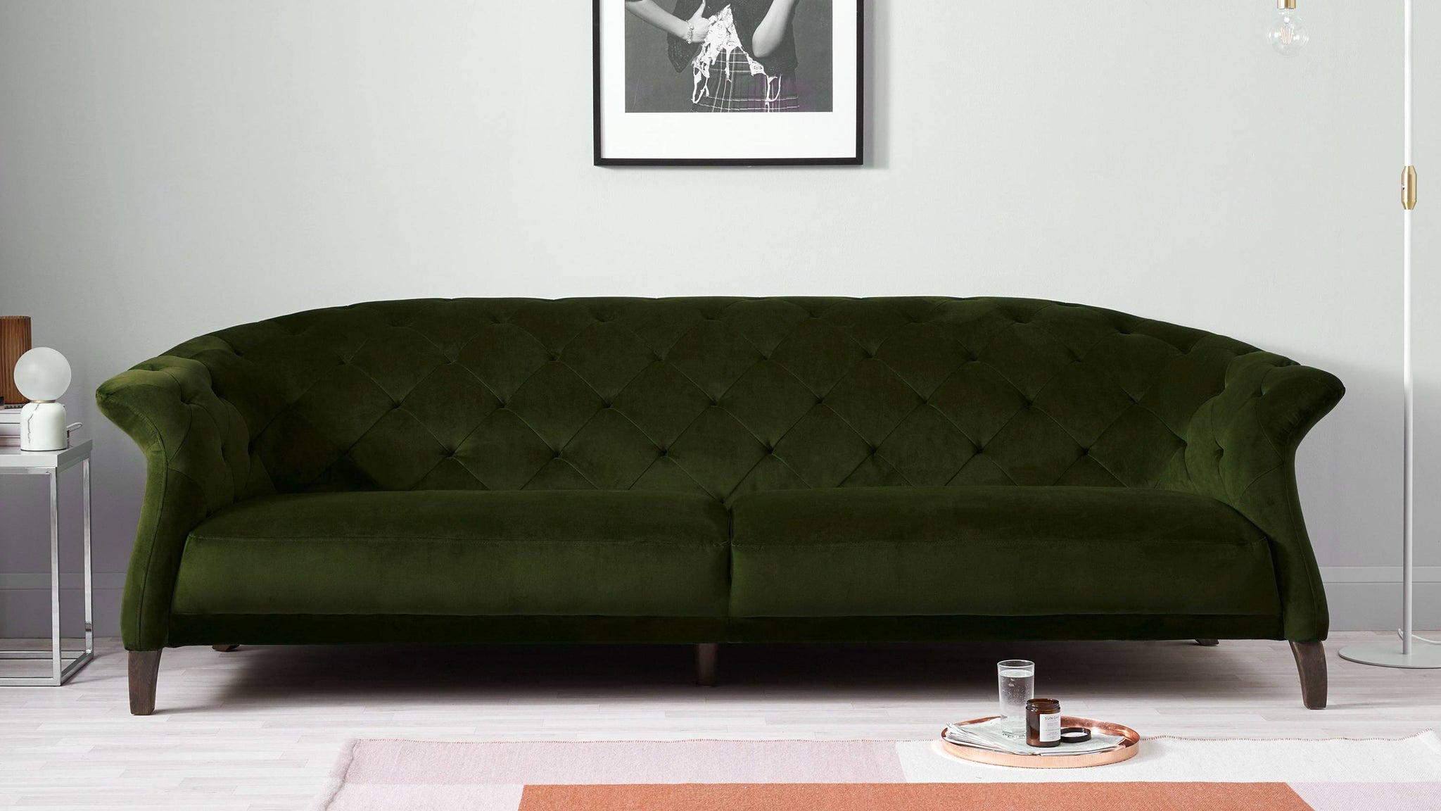 Dark green velvet modern sofa