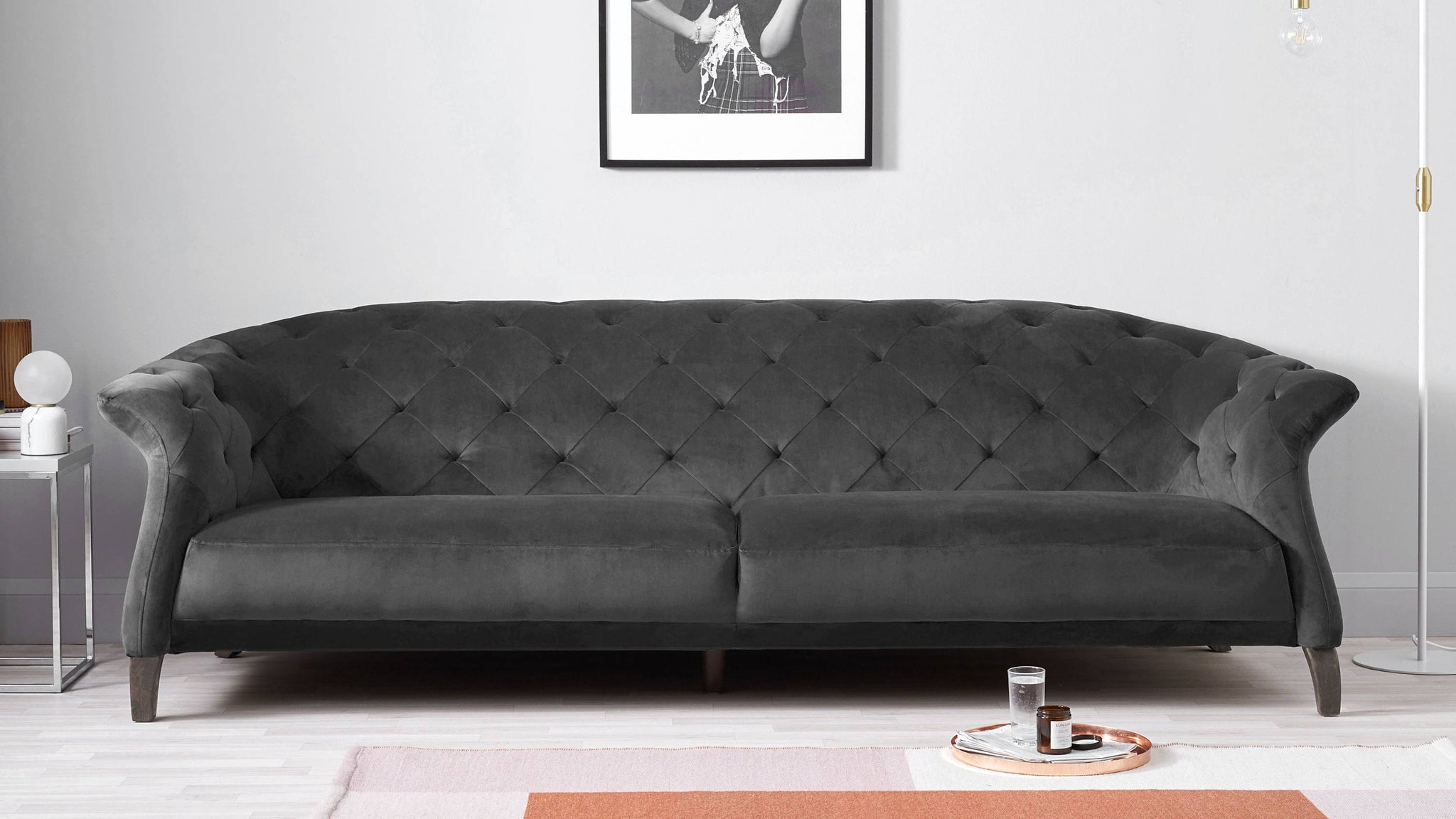 Large dark grey modern sofa