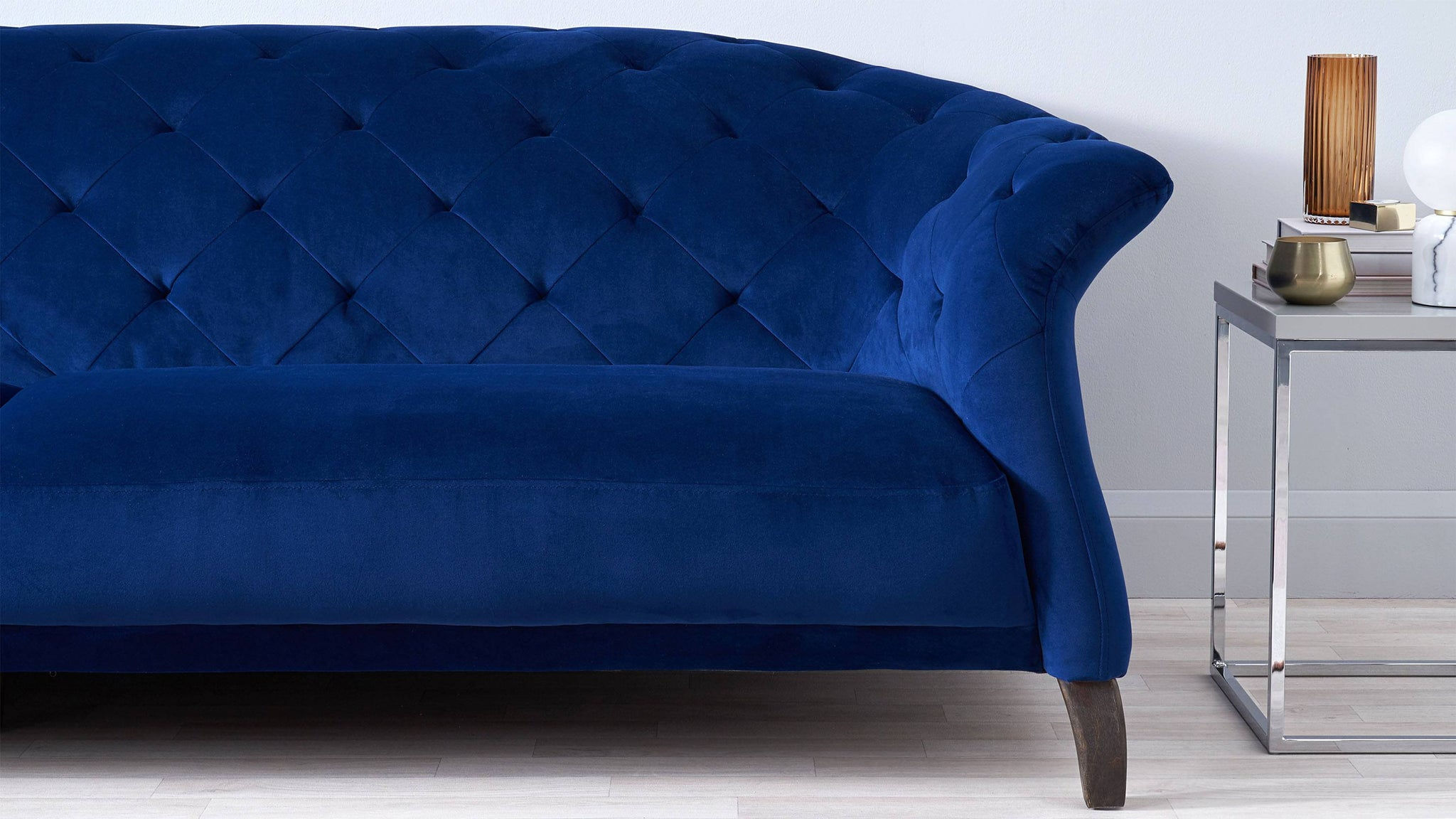 Dark blue velvet sofas