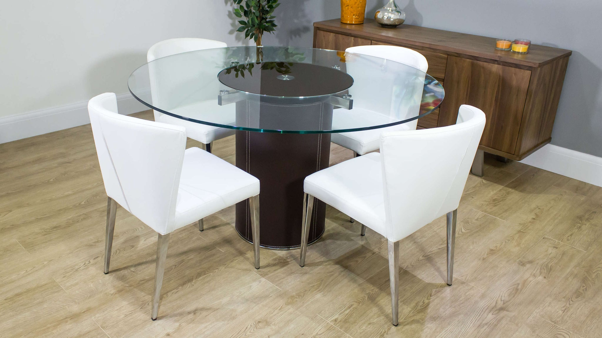 Contemporary White Dining Chairs and Glass Dining Table