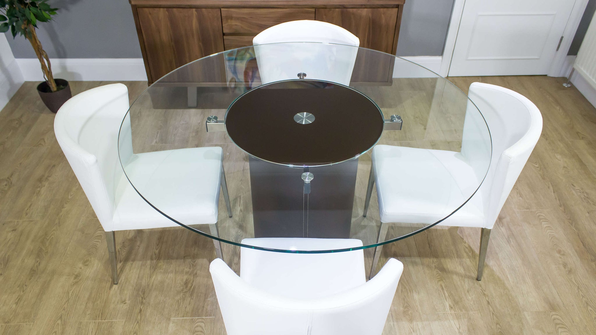 Dining Table with Spinning Lazy Susan and White Chairs