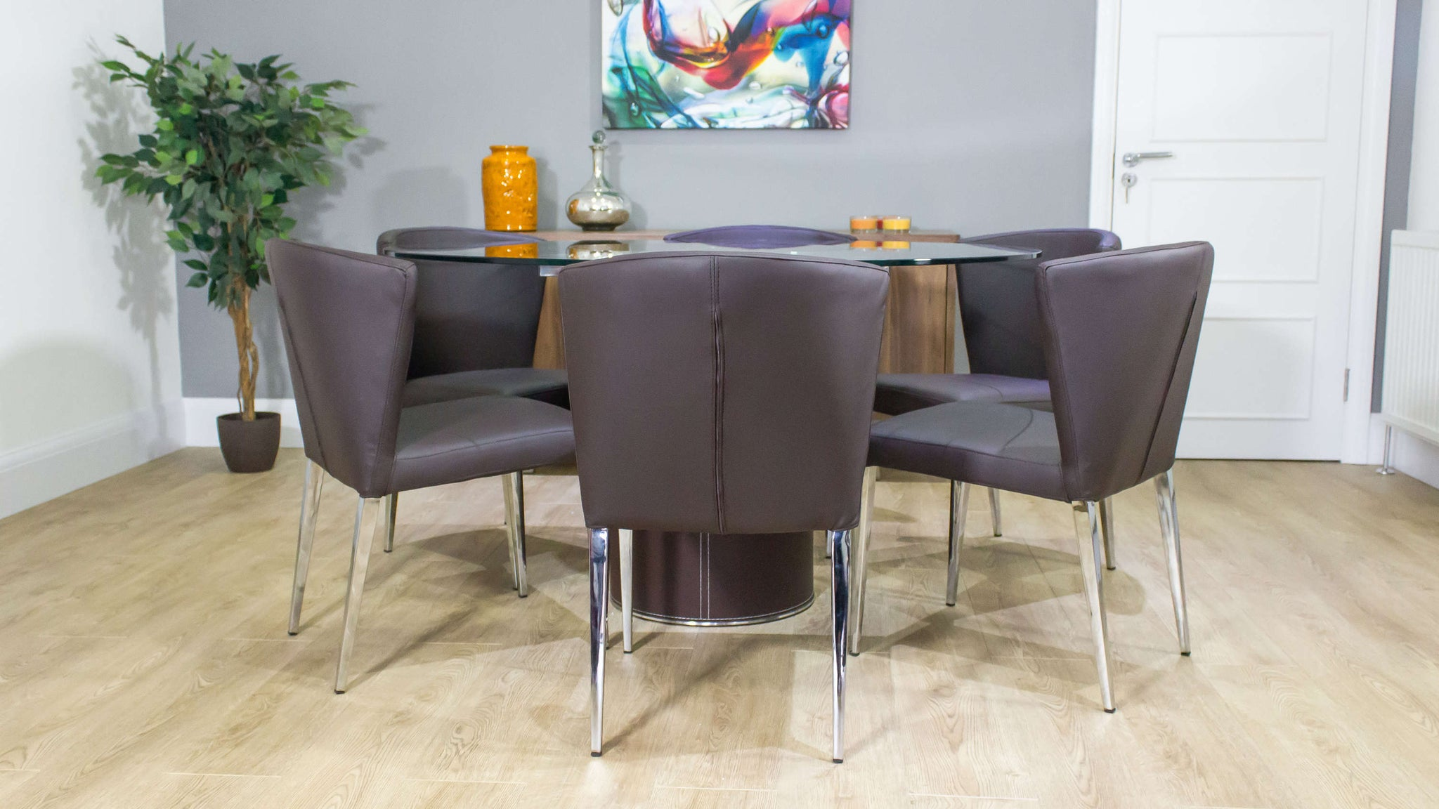 Modern Brown Dining and Round Glass Dining Table