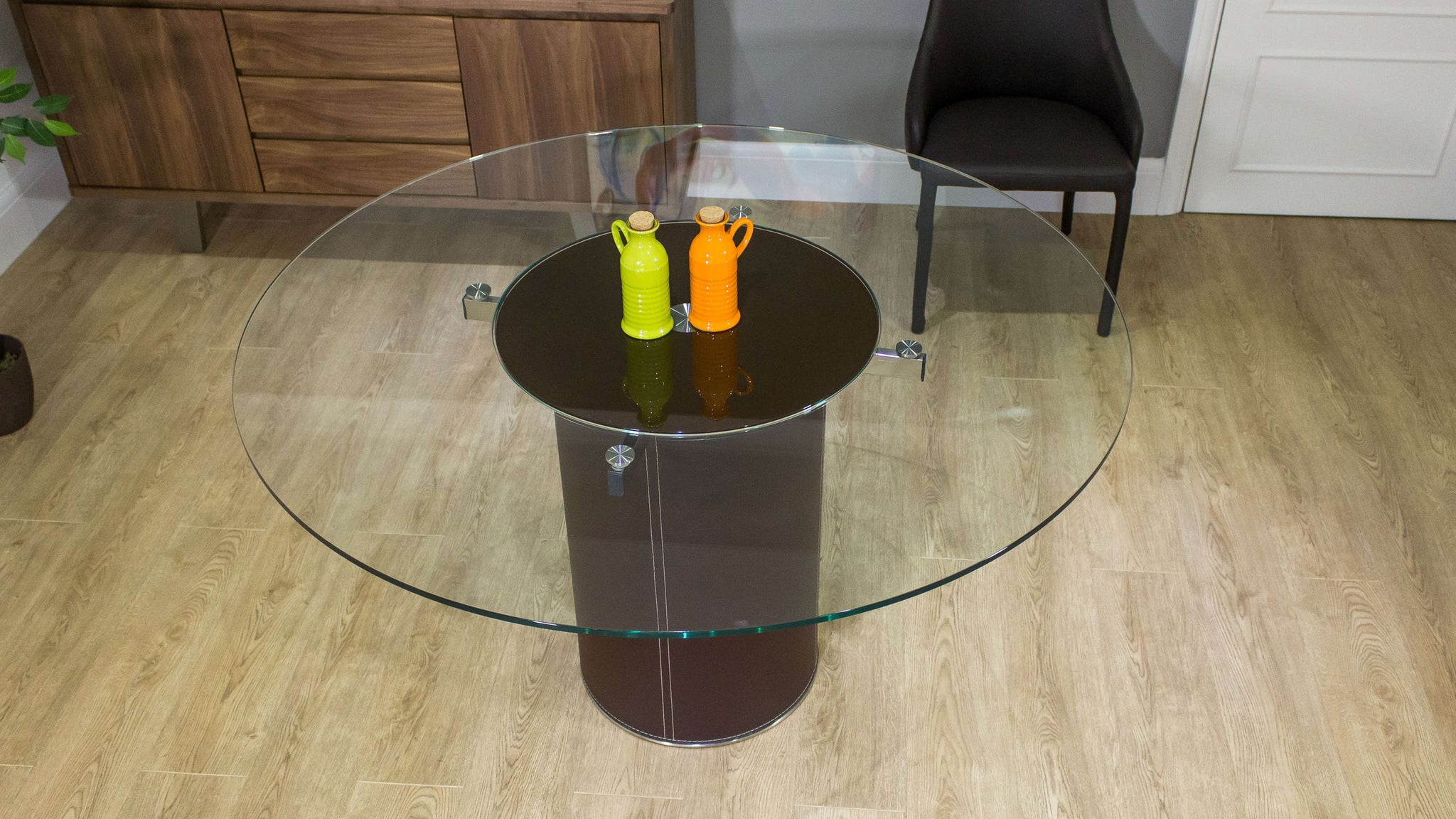 Brown Pedestal Based Dining Table