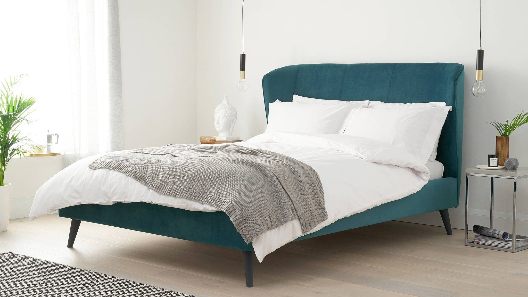 Dark teal velvet mellow beds