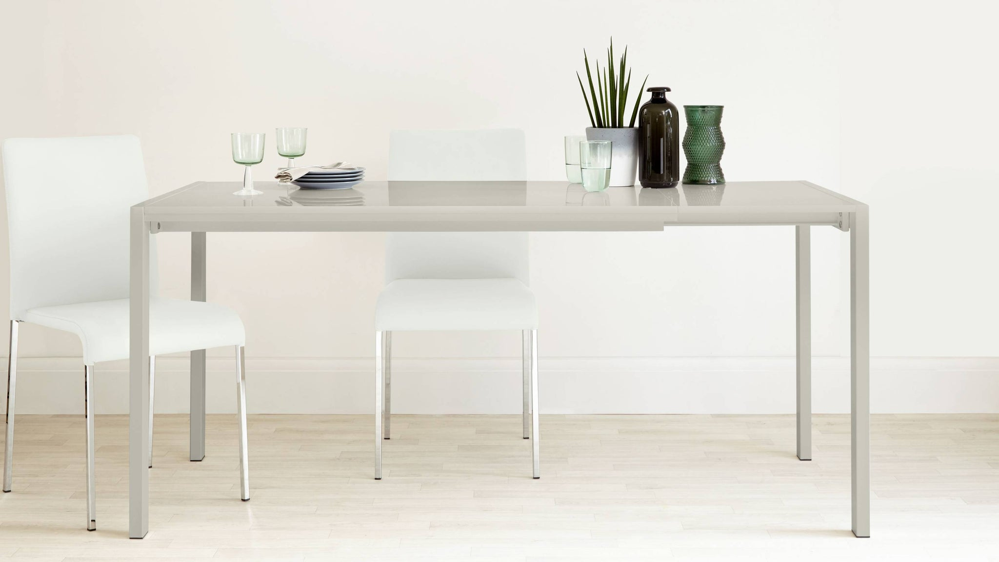 4-8 Seater Light Grey Gloss Kitchen Table