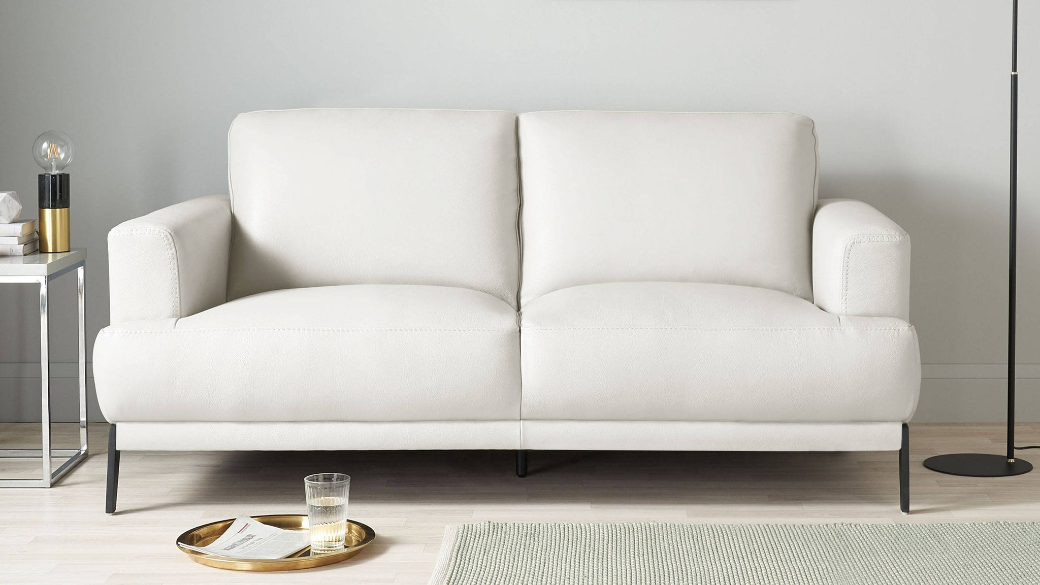 White leather small sofa