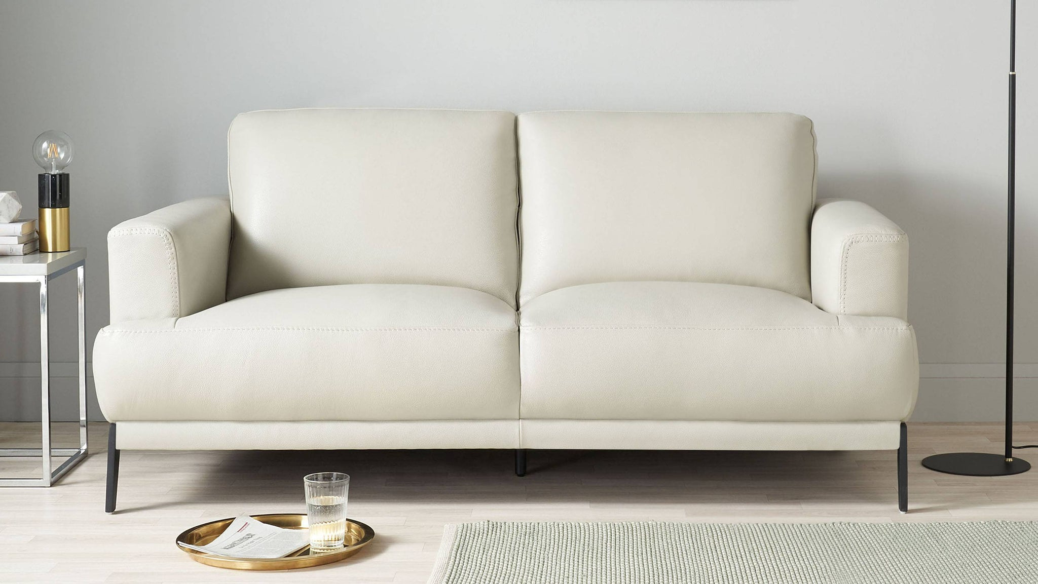 2 seater modern leather sofas
