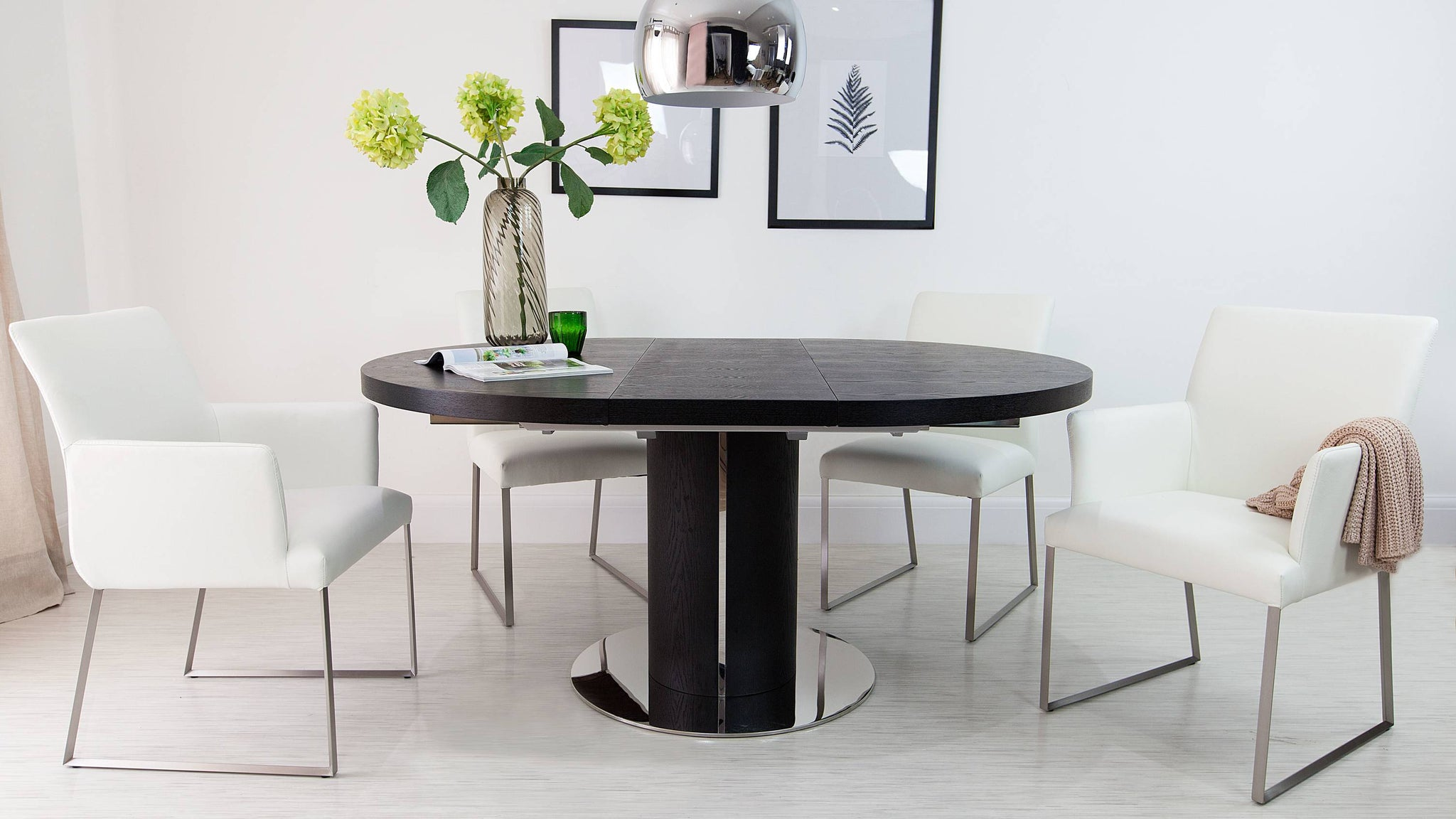 Contemporary Black and White Extending Dining Set