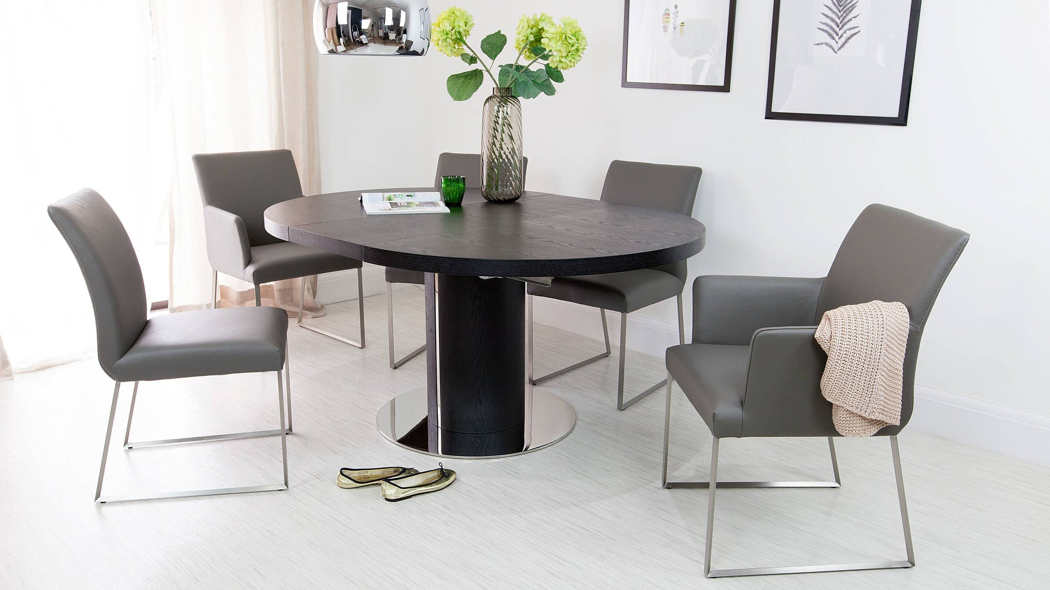 Grey Real Leather Dining Chairs and Extending Dining Table