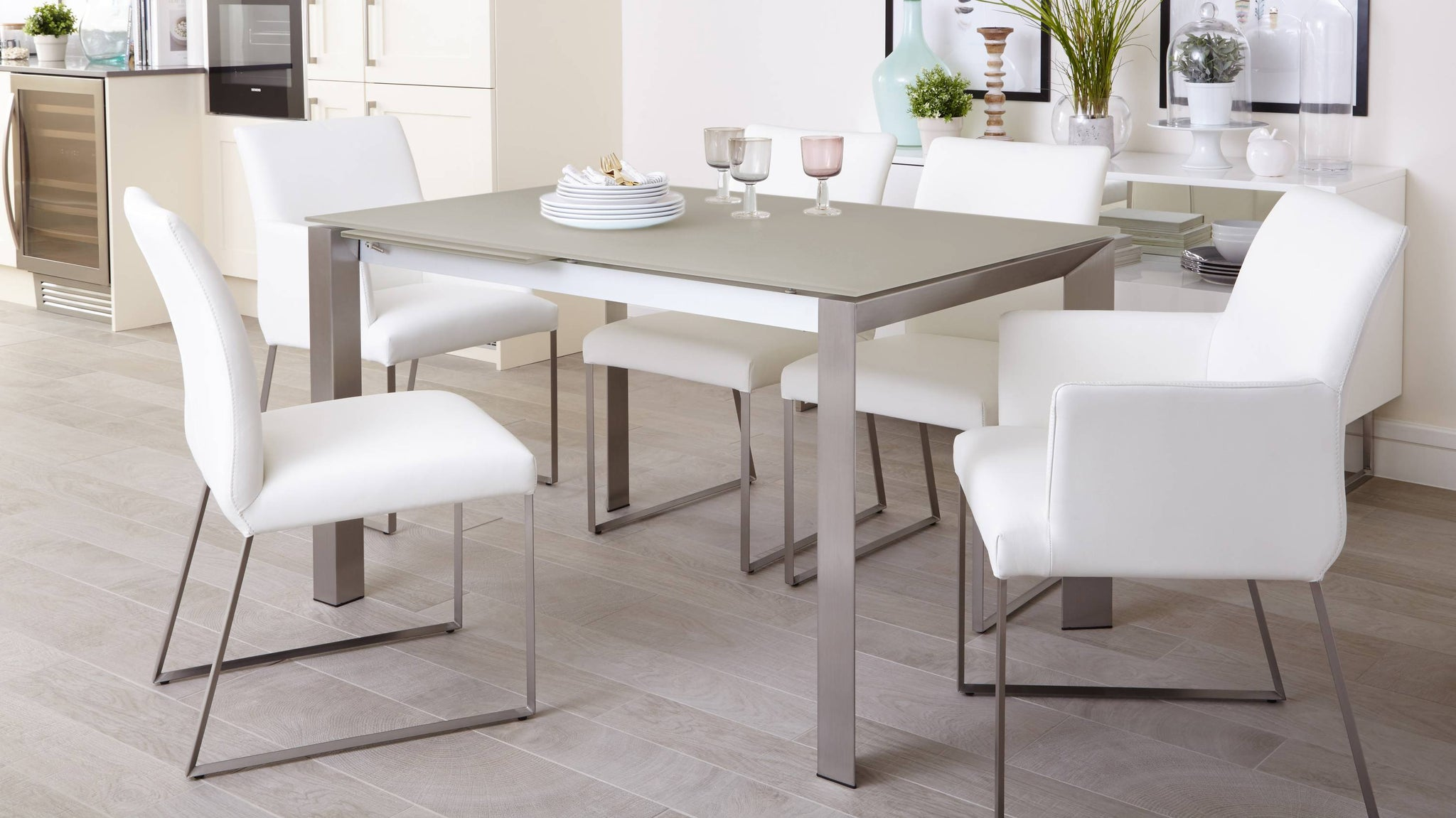 Grey Gloss Extending Dining Table and Real Leather Dining Chairs