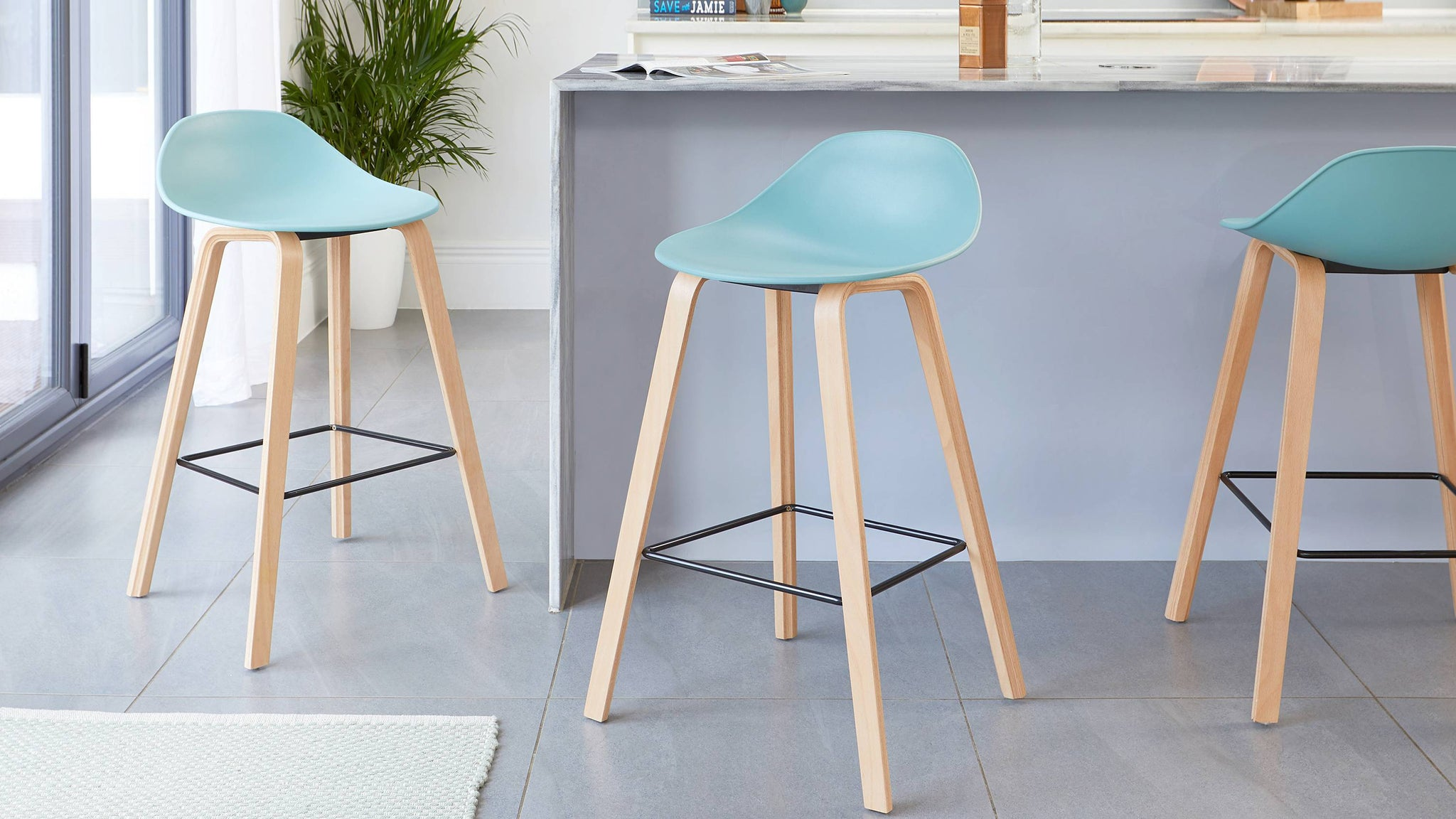 Aqua wooden bar stools