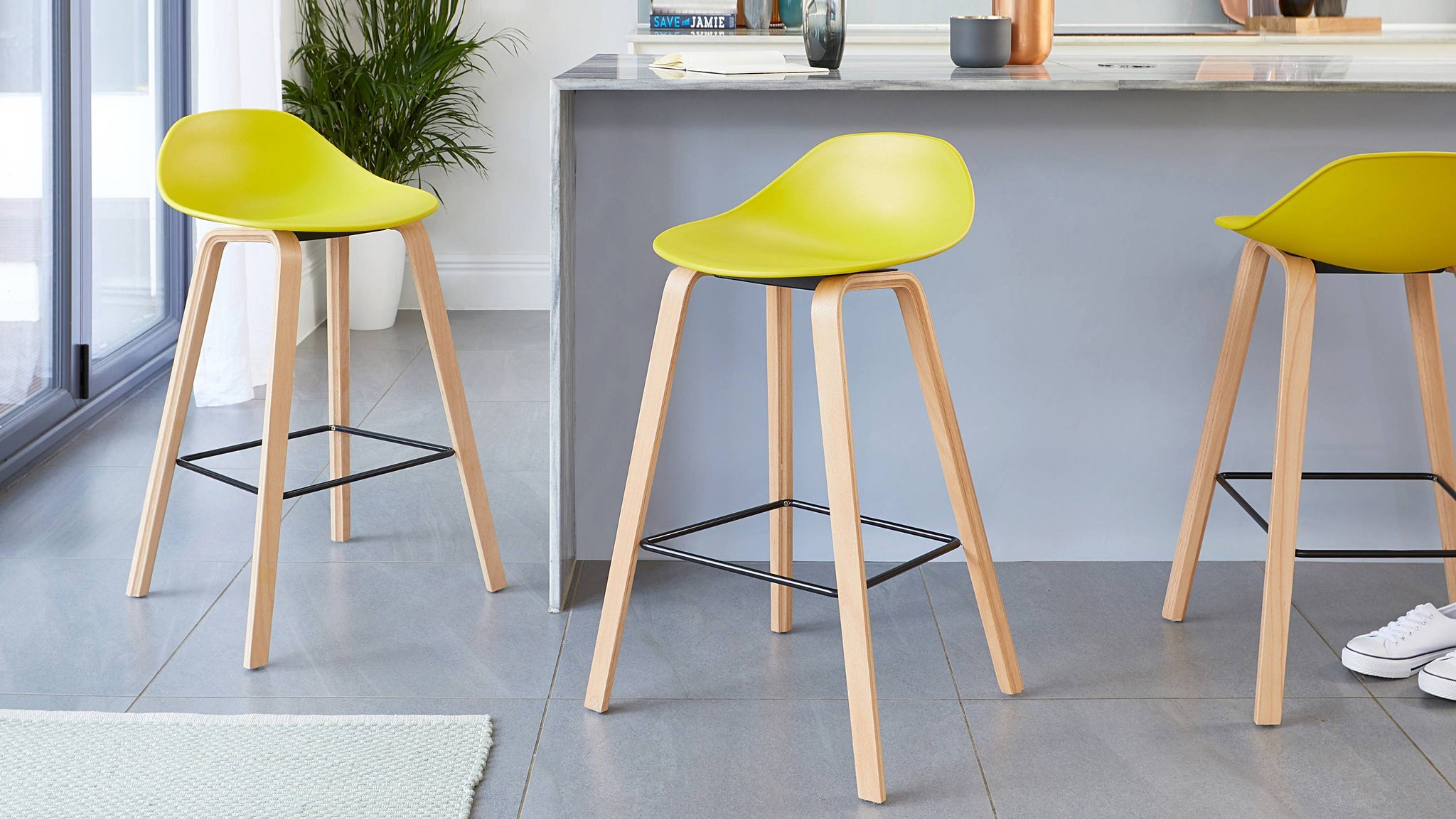 Yellow wooden bar stools