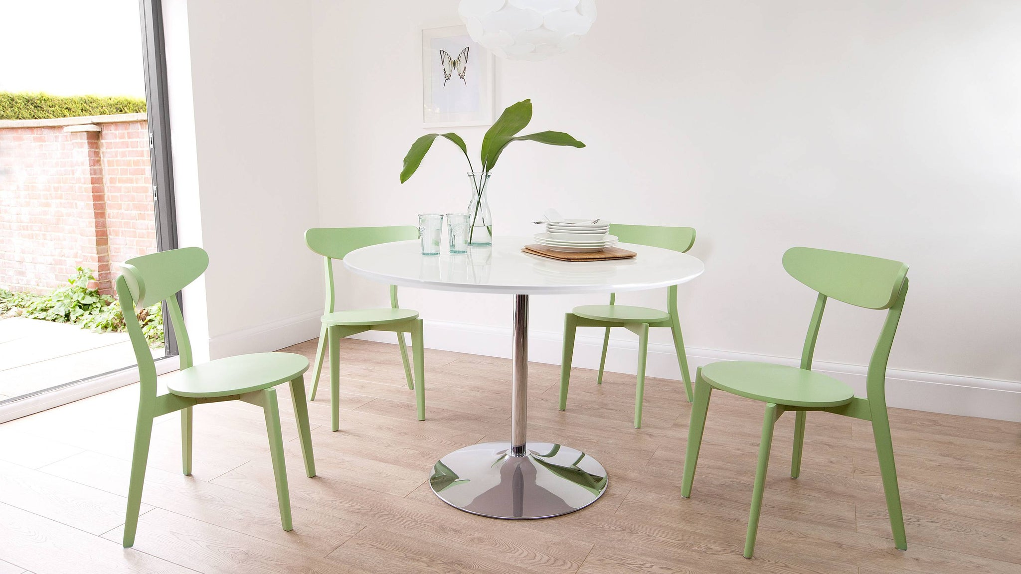 Naro Round White Gloss and Senn Colourful Dining Set