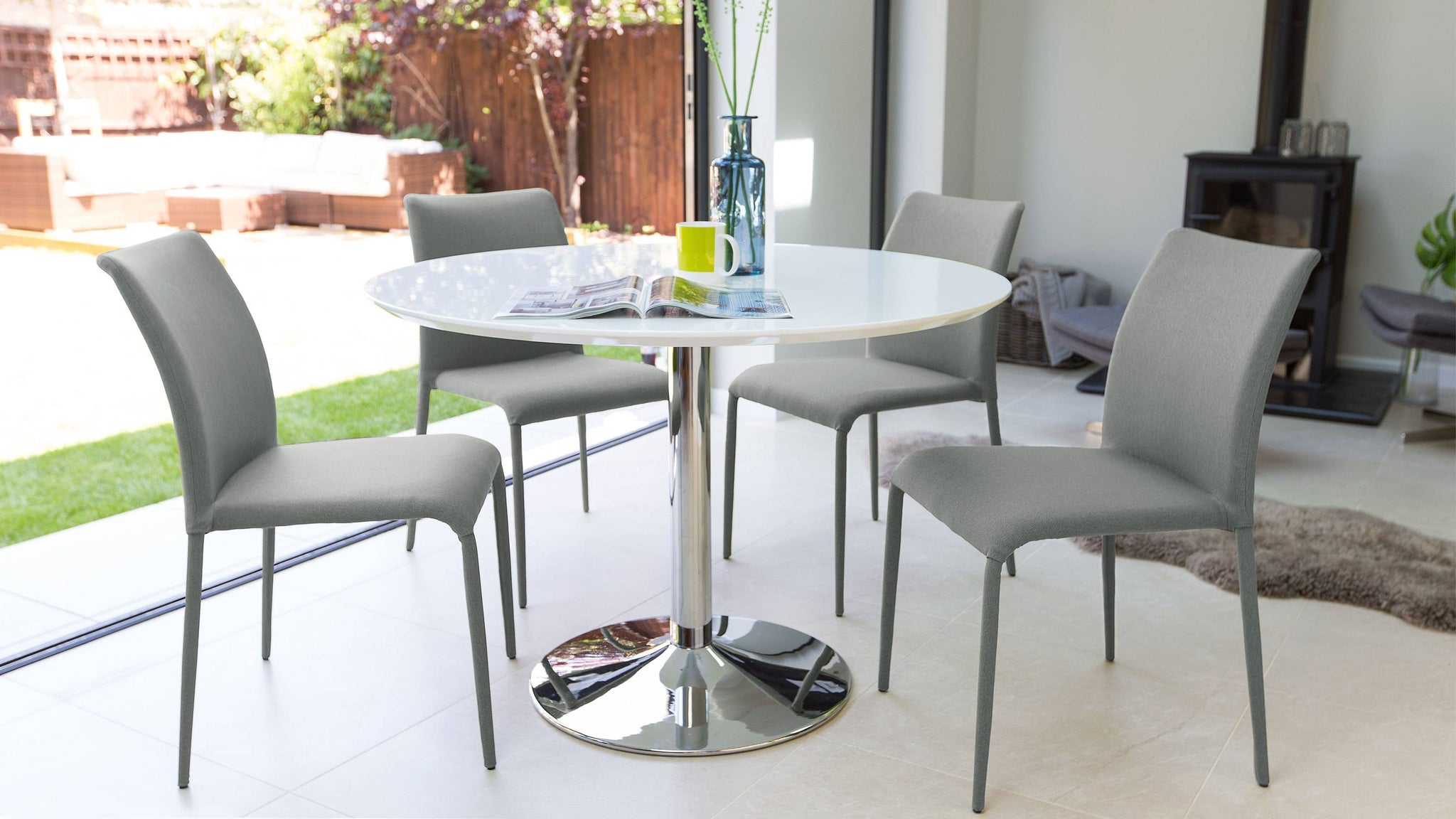 Stylish White Gloss Dining Table and Fabric Dining Chairs