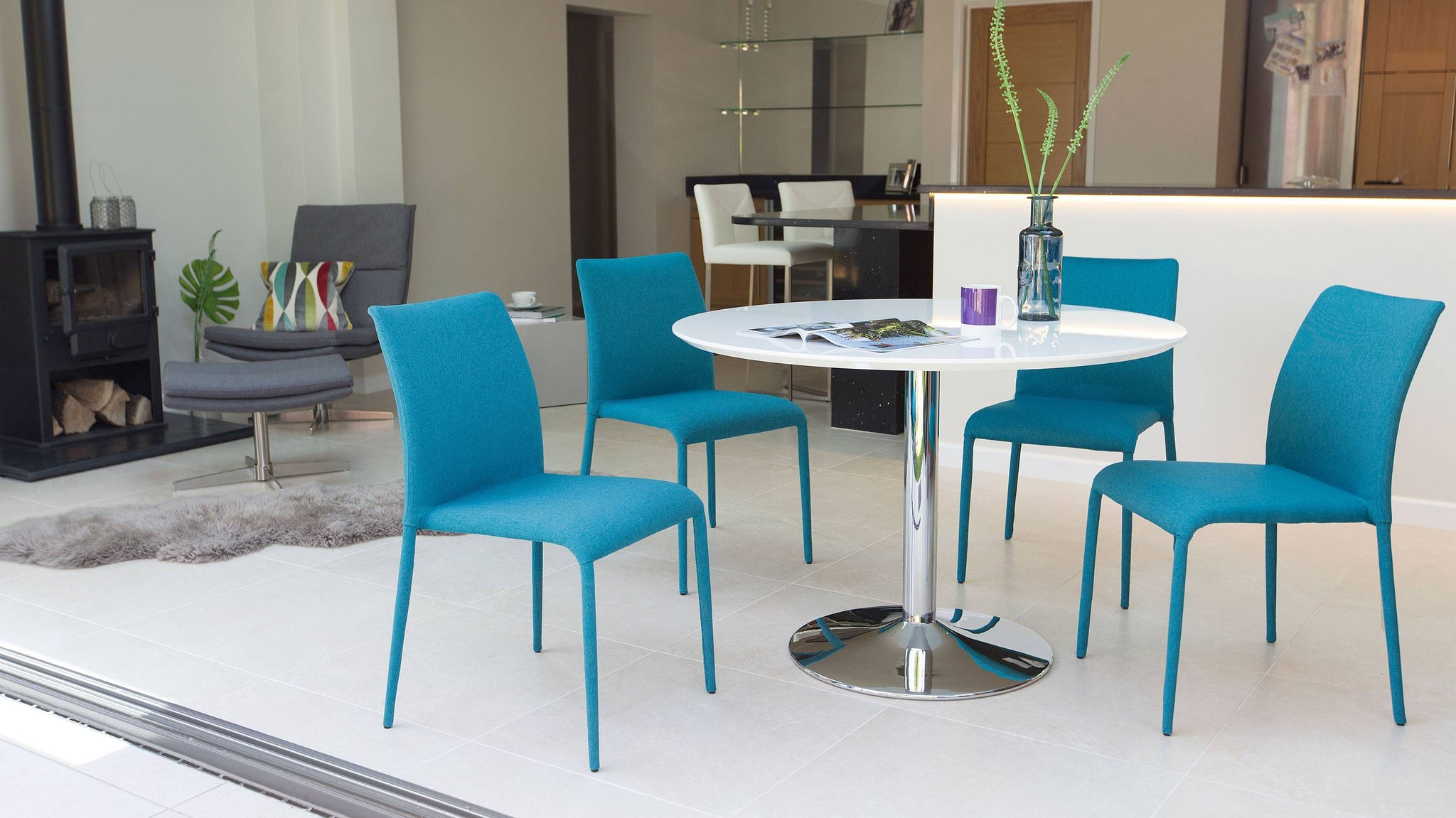 Teal and White Gloss Dining Set
