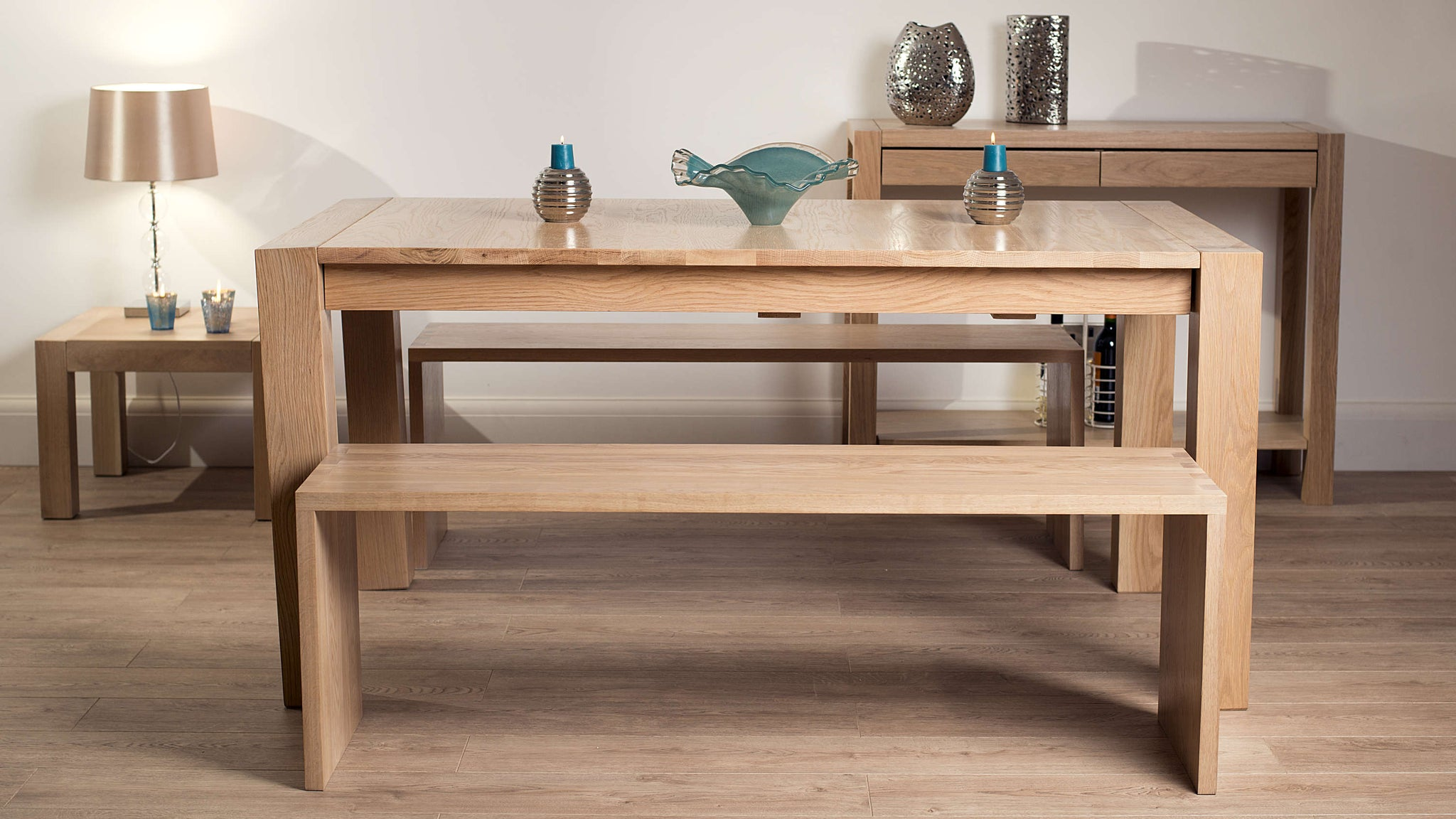 Solid Wood Extending Dining Table and Dining Benches