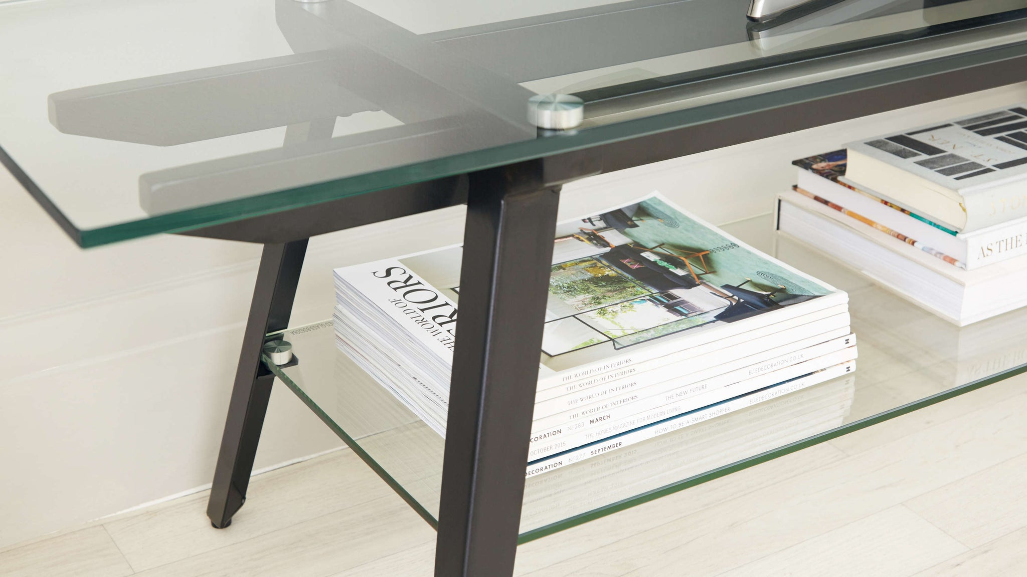 Modern Black Glass TV Table