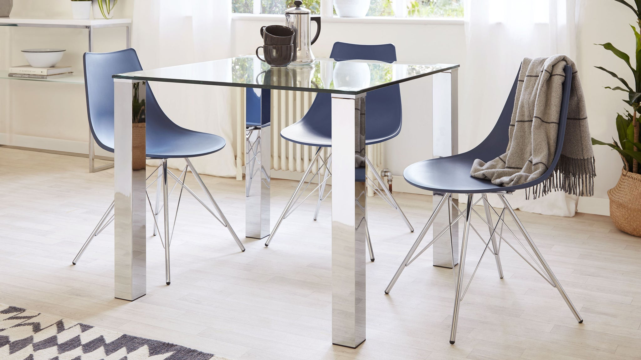Tiva 2 to 4 Seater Small Glass and Chrome Dining Table