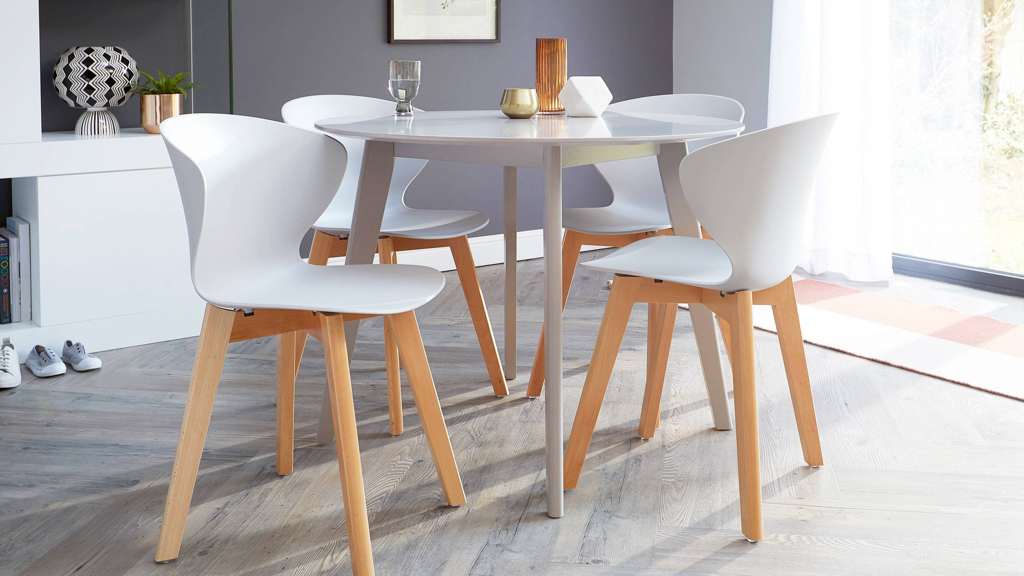 Modern plastic and wooden dining chairs