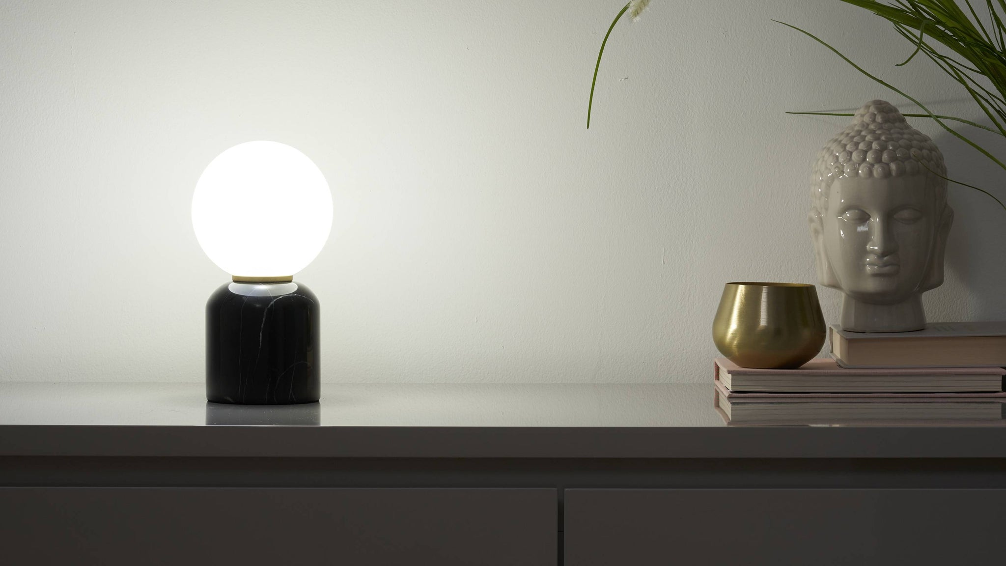 Small black marble lamp