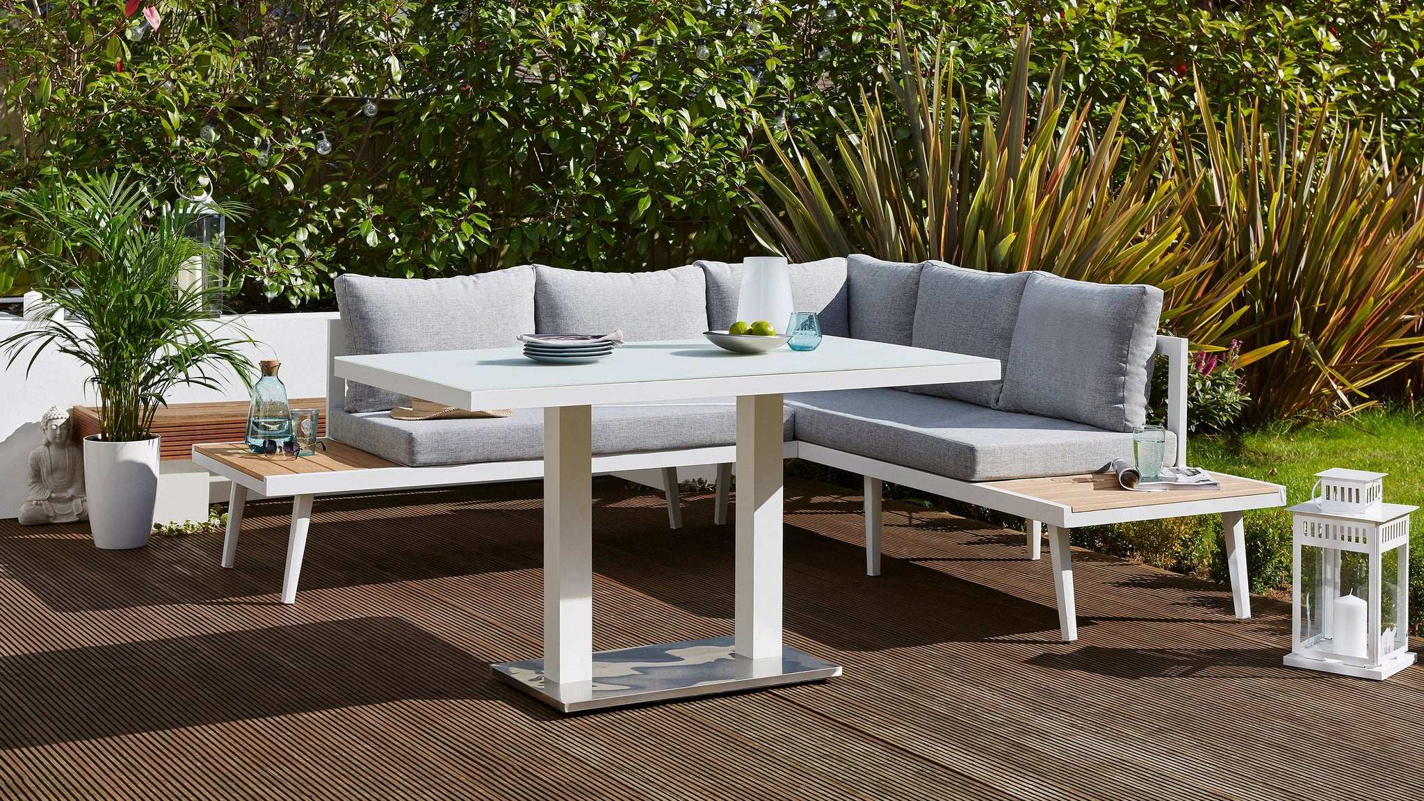 White frosted outdoor garden table