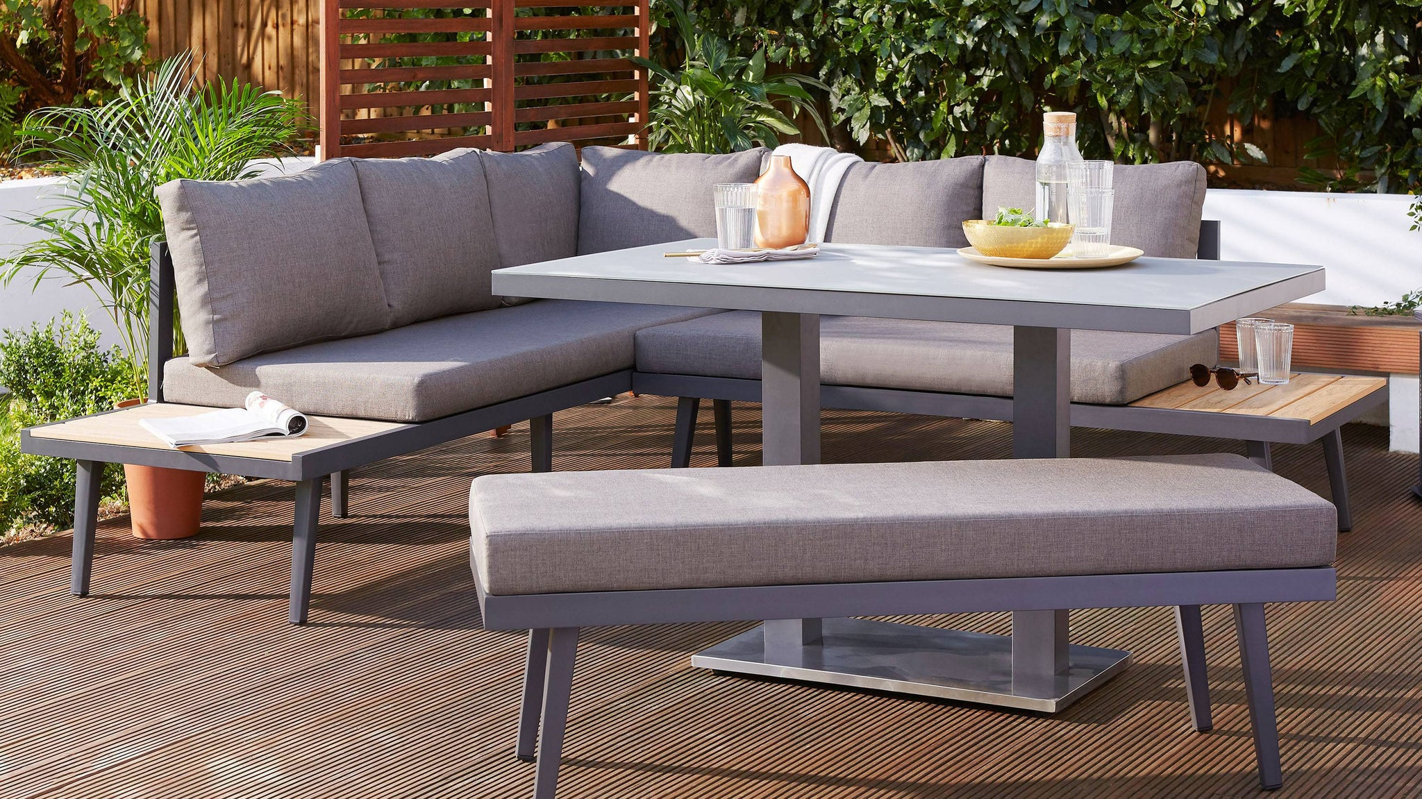 Z DROPPED - Palermo Grey 2 Seater Garden Bench