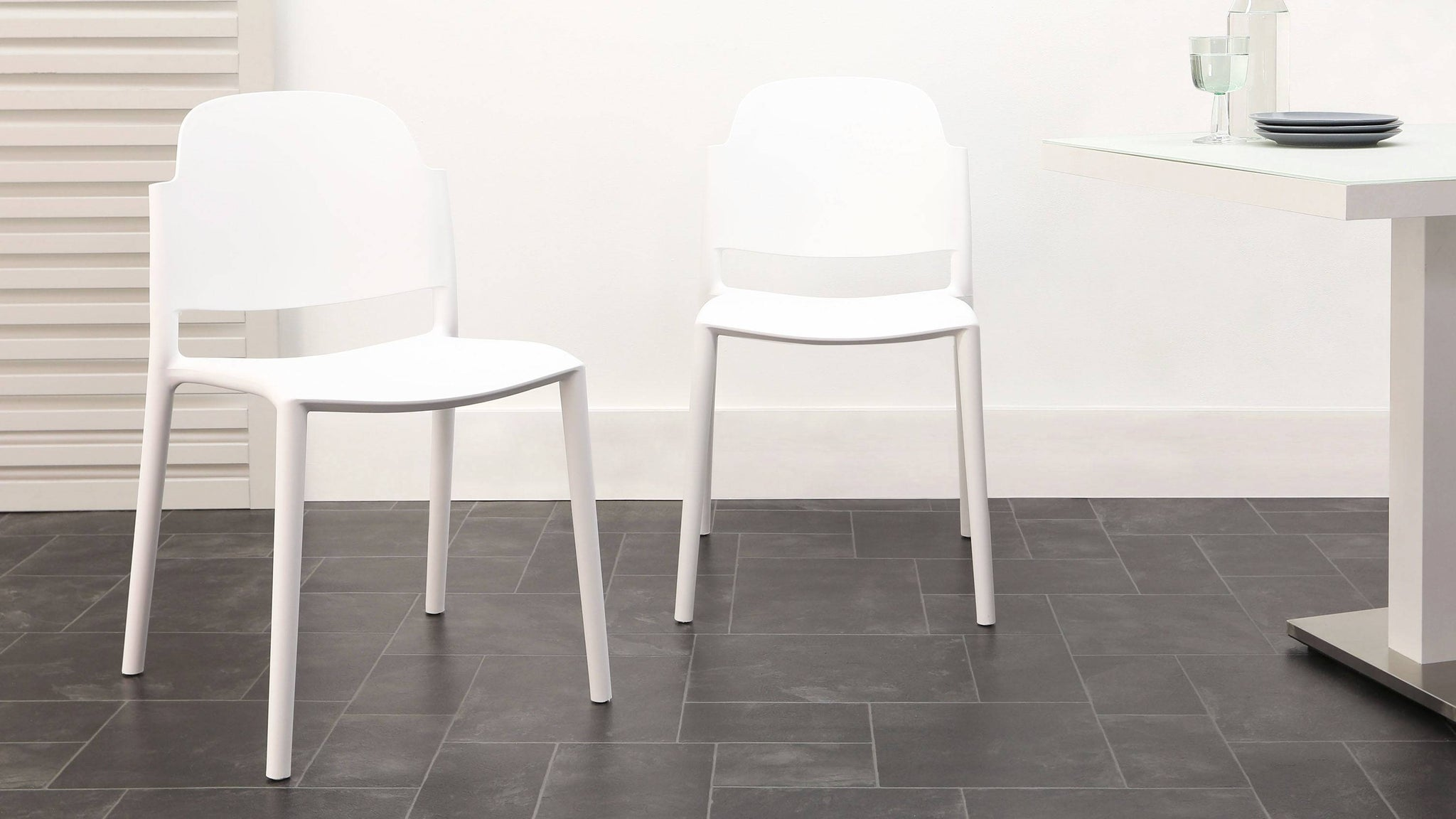 White stacking chairs
