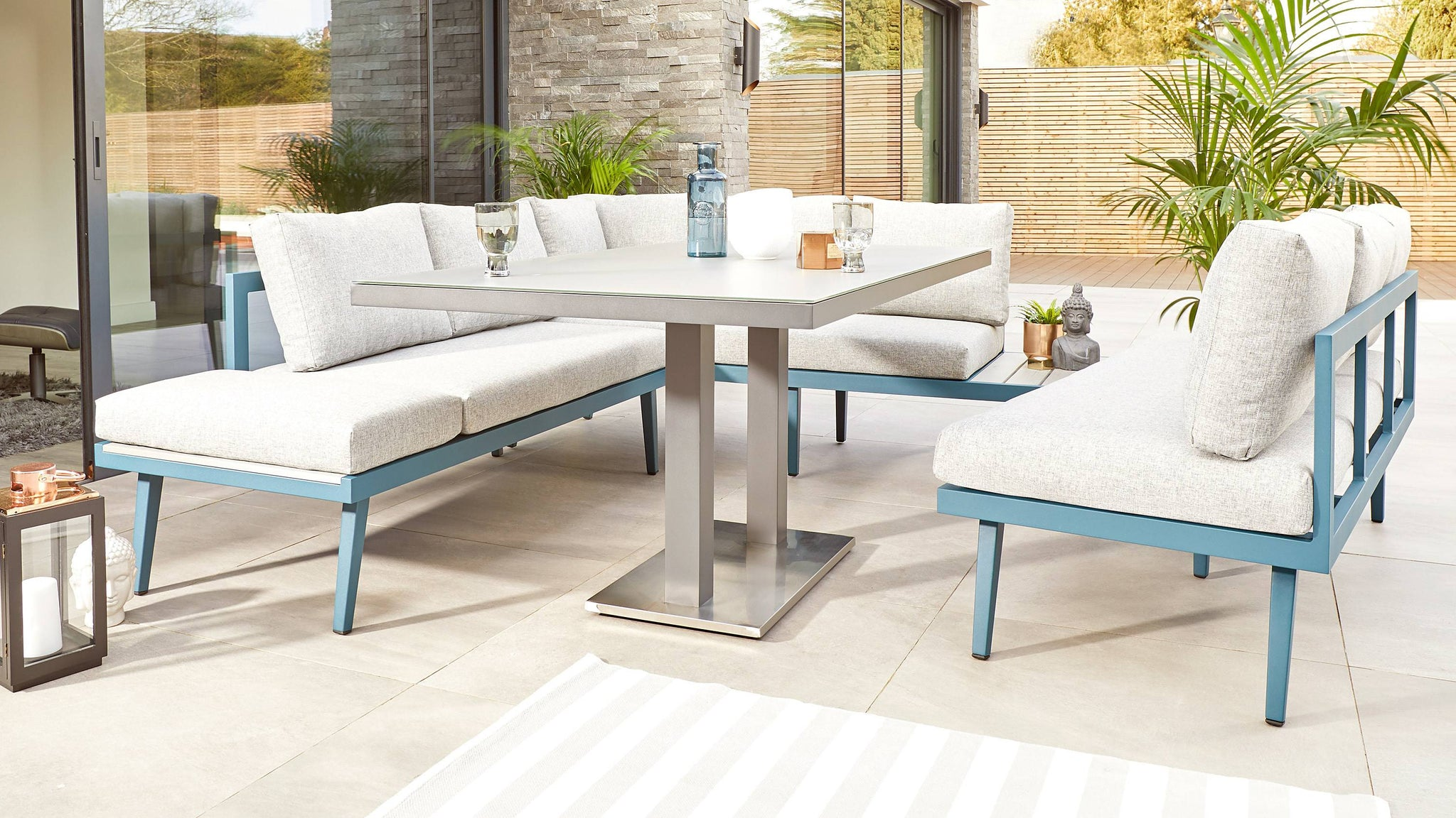 Palermo Grey Table with Ocean Left Hand Corner Bench and 3 Seater Bench Set