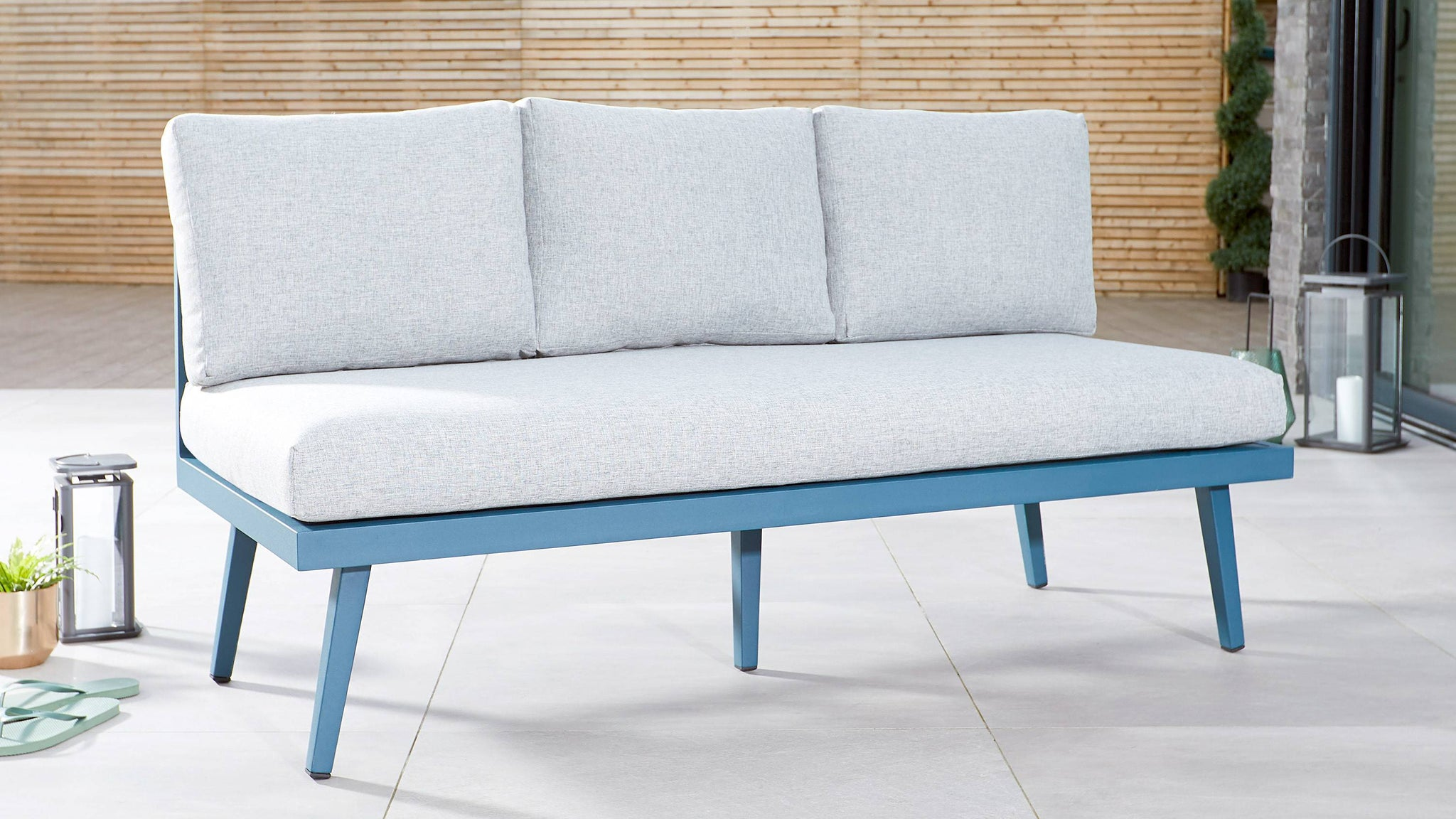 3 Seater blue garden bench
