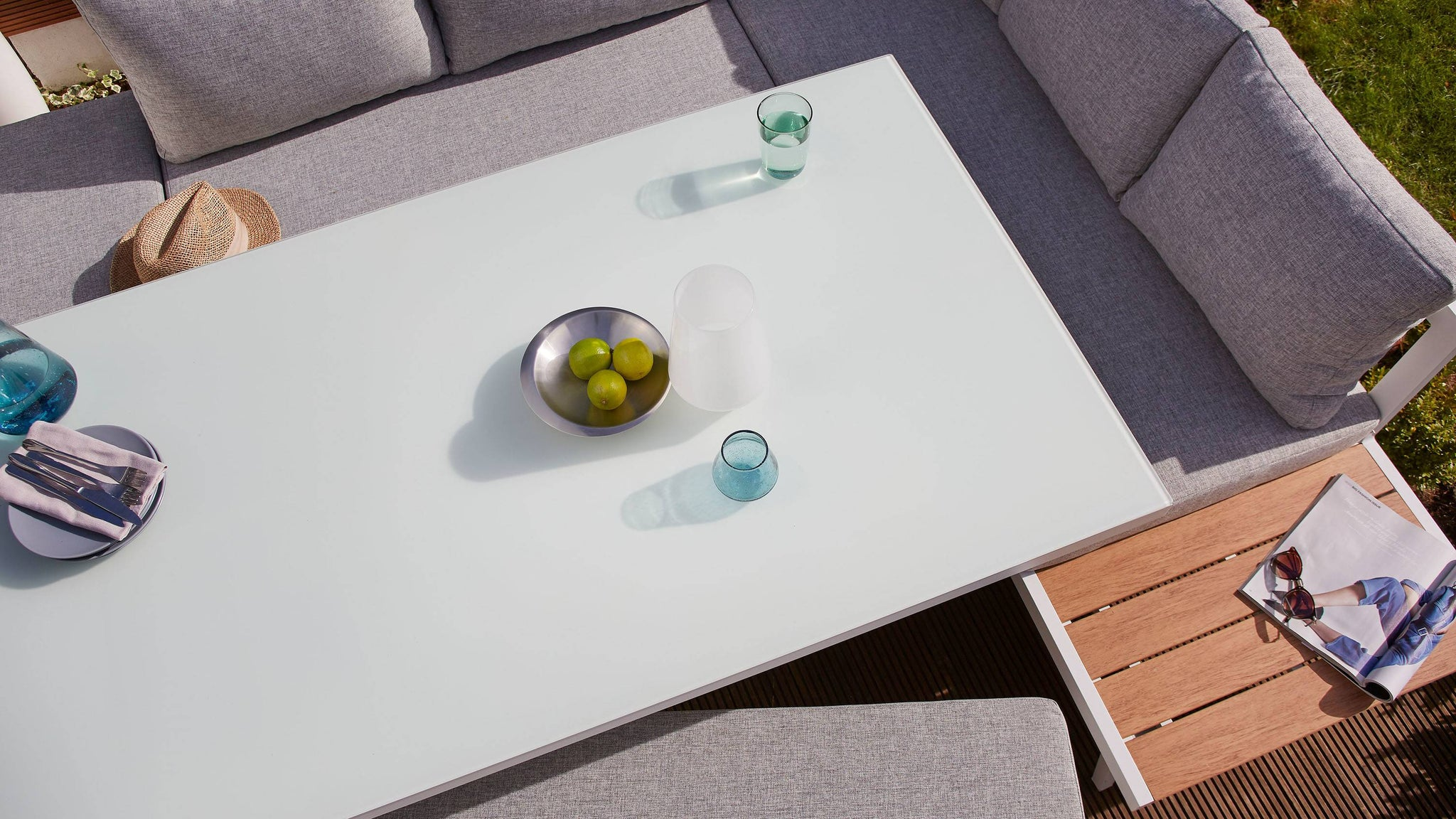 White modern garden table