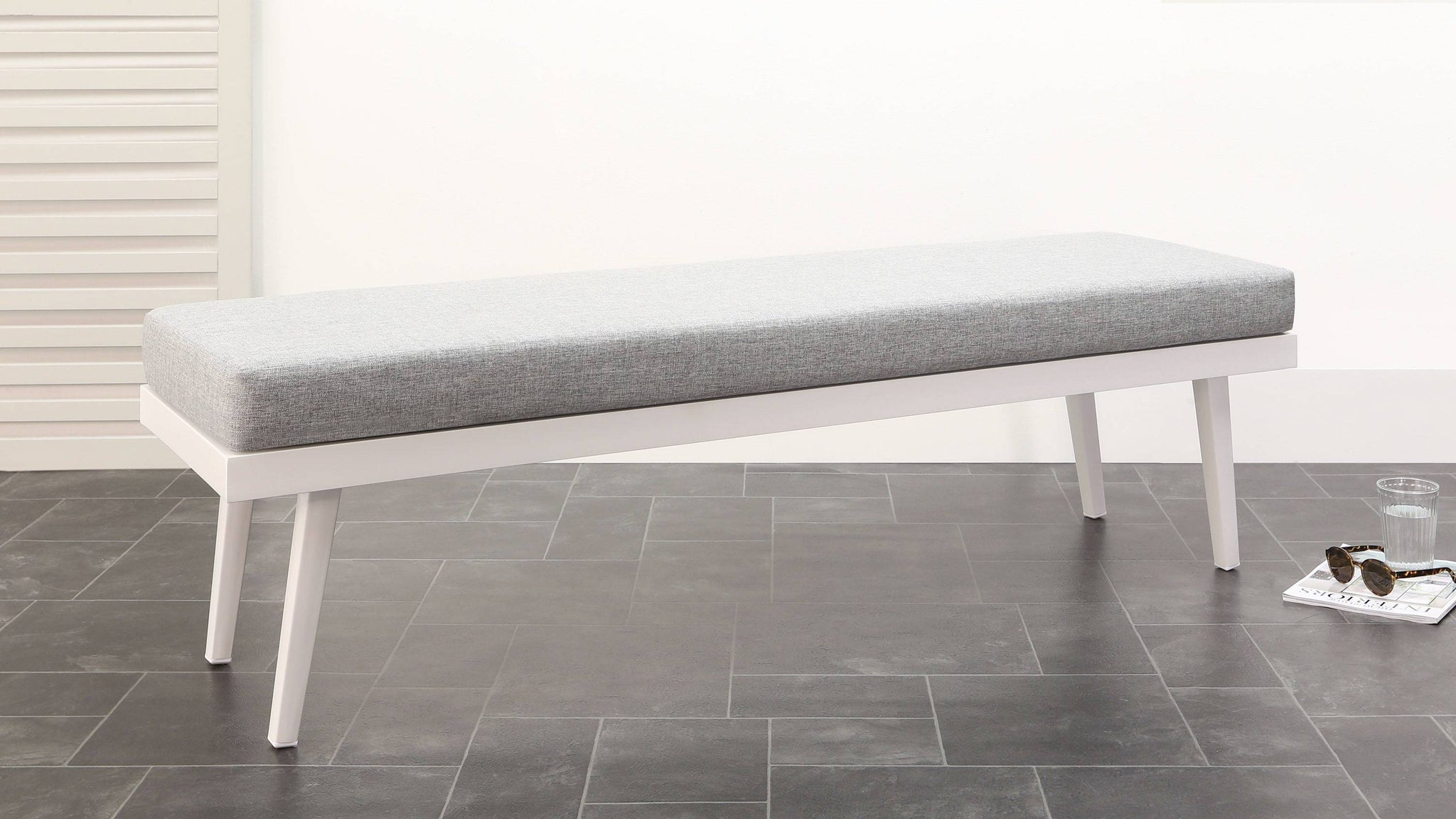 Large white and light grey outdoor bench