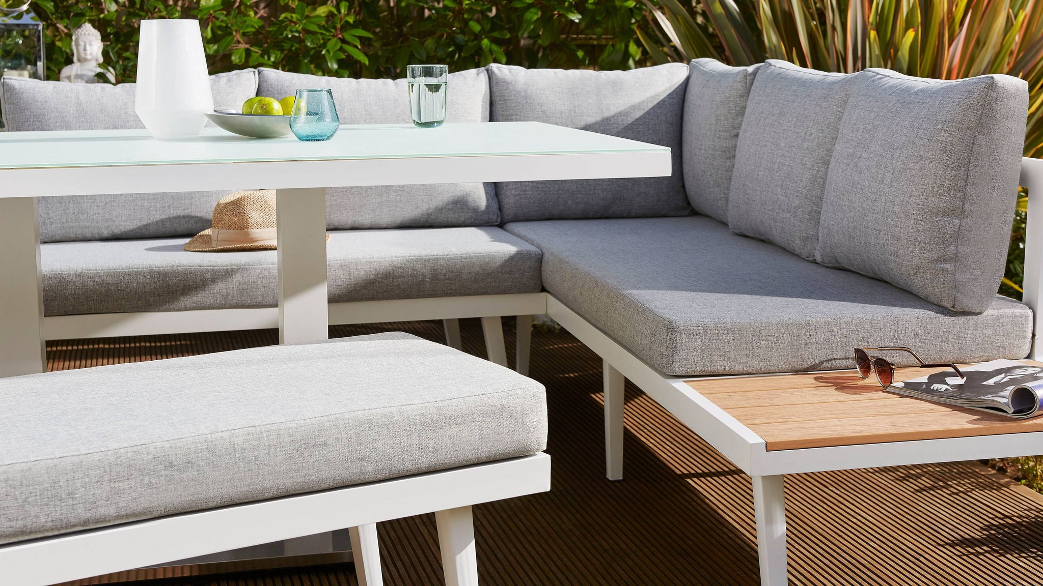 Light grey dining garden bench