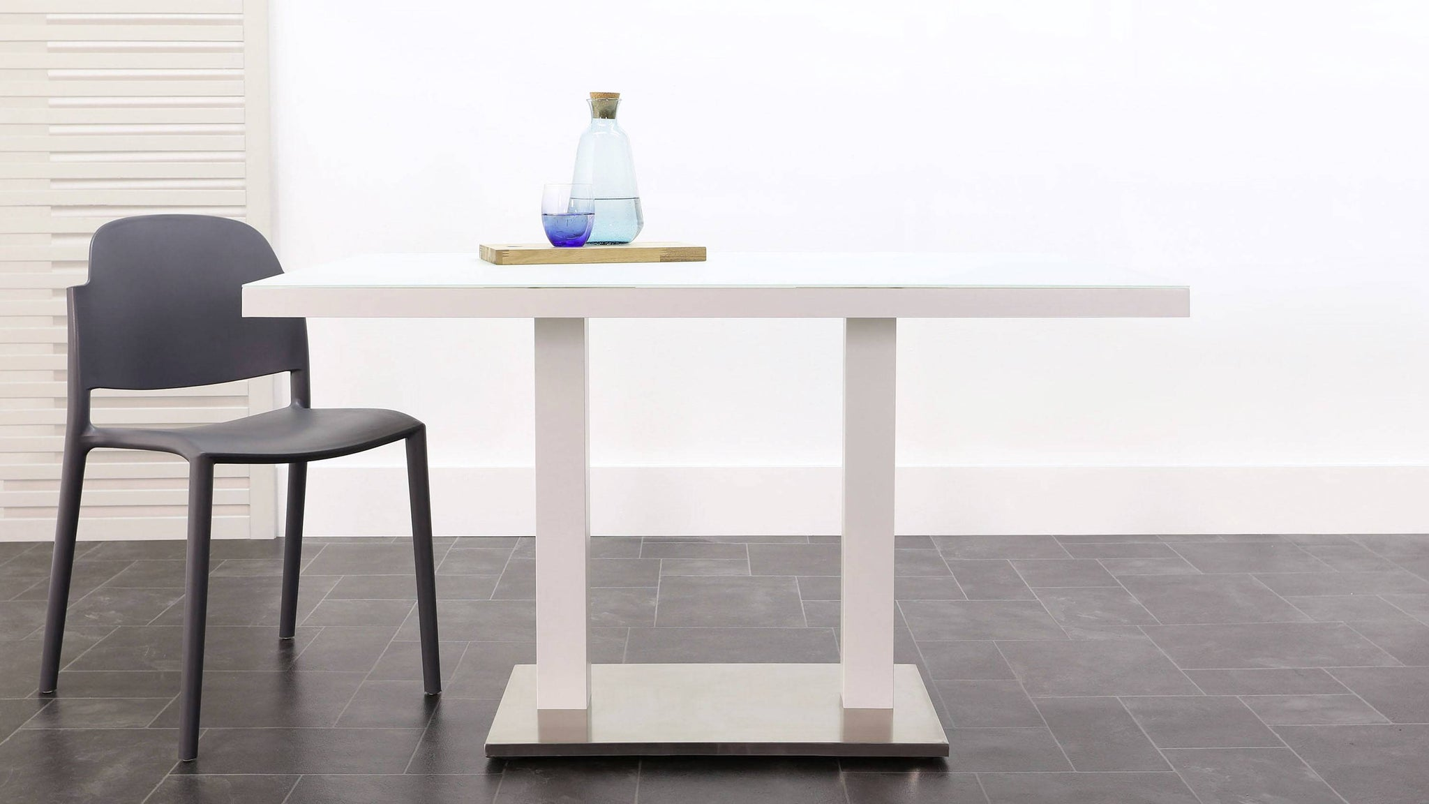 Palermo white pedestal modern table