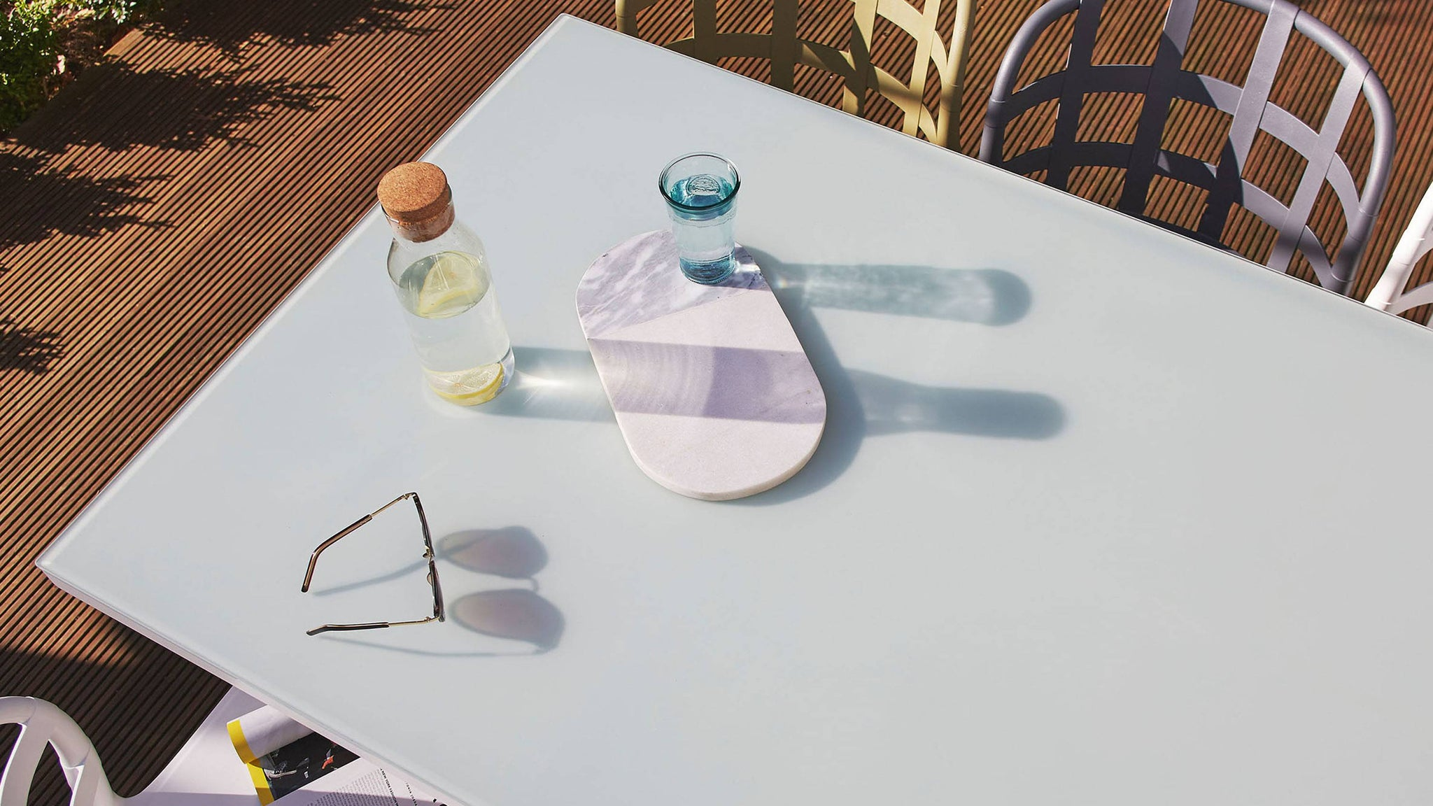 Frosted glass modern outdoor table