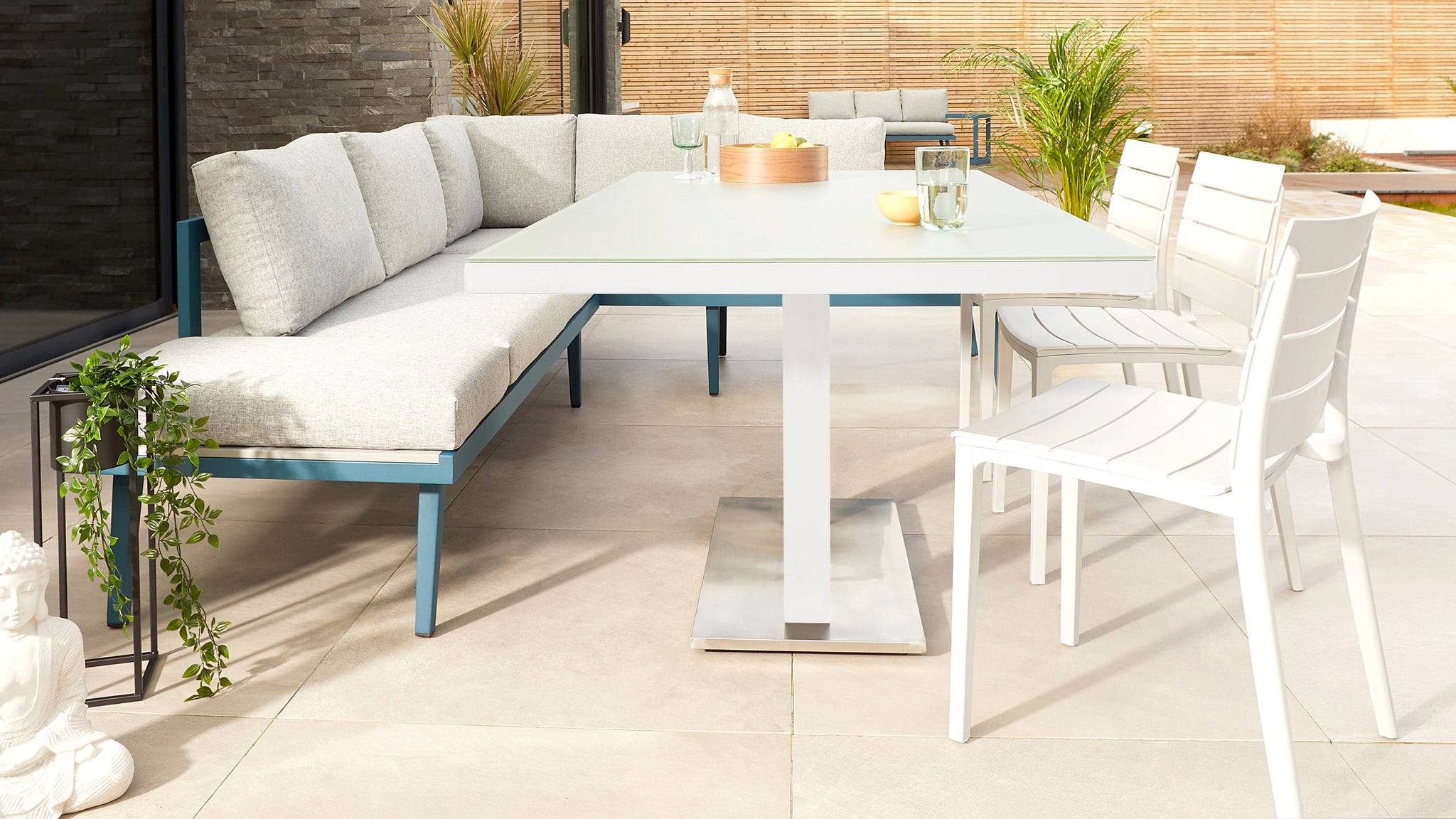 White glass garden table