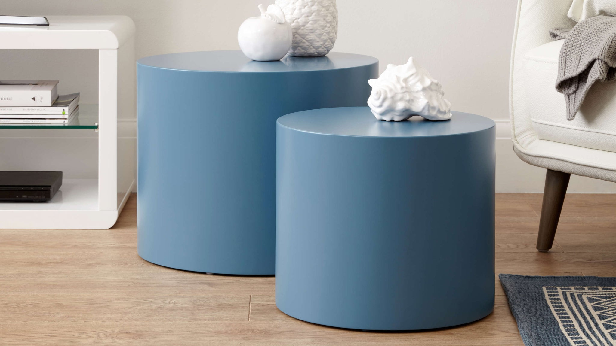 blue grey side tables