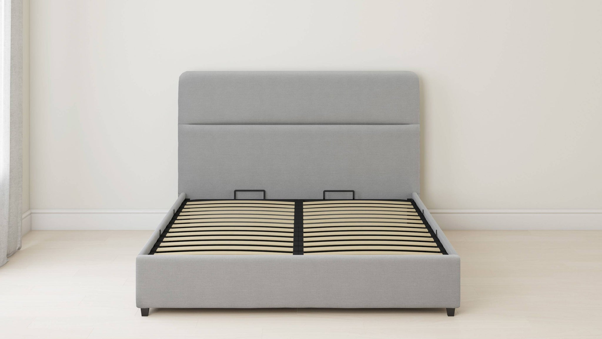 simple rolled bed with storage